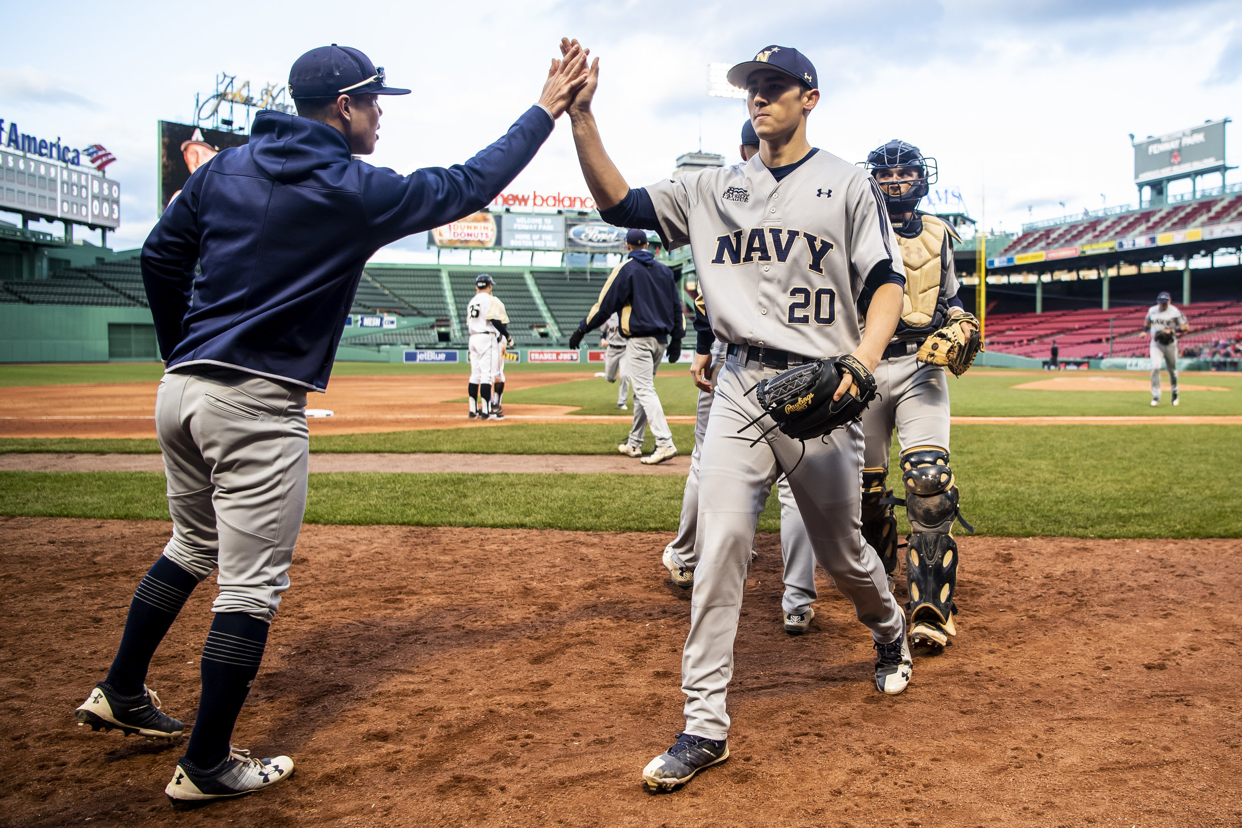 April 20, 2018, Boston, MA: The Navy pitcher walks off the field as Army - West Point faces The Naval Academy at Fenway Park in Boston, Massachusetts Friday, April 20, 2018. (Photo by Matthew Thomas/Boston Red Sox)