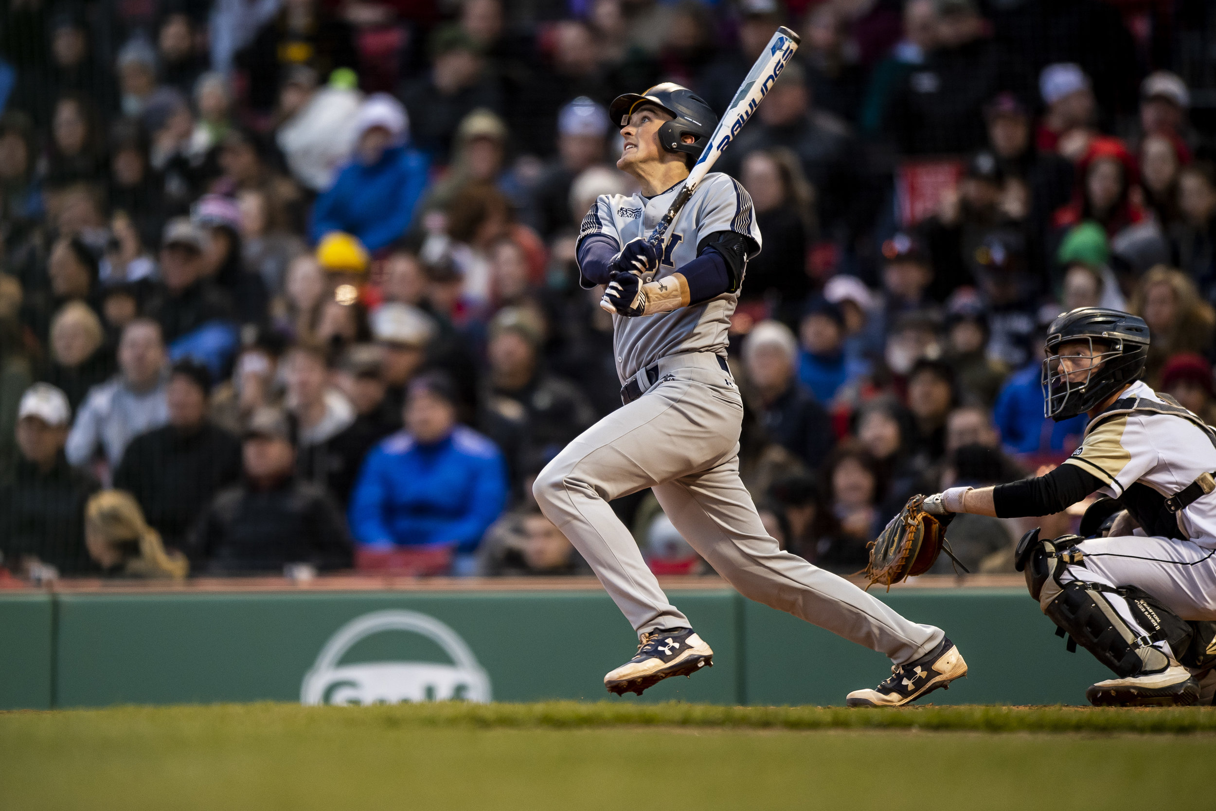 April 20, 2018, Boston, MA: A Navy batter swings at a pitch as Army - West Point faces The Naval Academy at Fenway Park in Boston, Massachusetts Friday, April 20, 2018. (Photo by Matthew Thomas/Boston Red Sox)