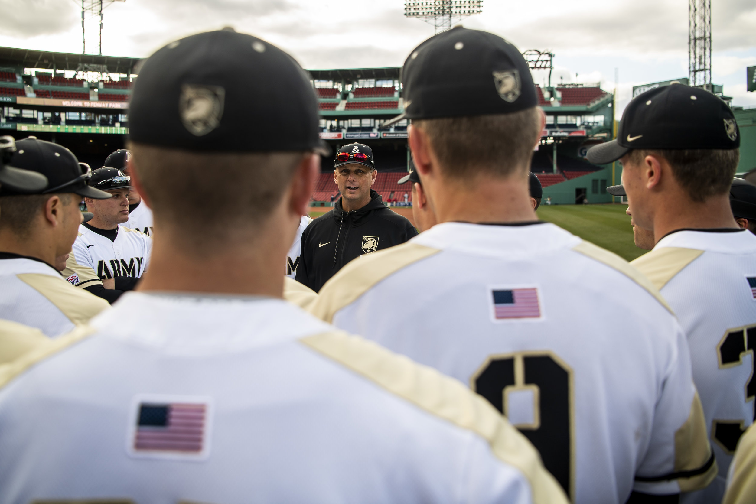 April 20, 2018, Boston, MA: The Army head coach addresses the team before Army - West Point faces The Naval Academy at Fenway Park in Boston, Massachusetts Friday, April 20, 2018. (Photo by Matthew Thomas/Boston Red Sox)