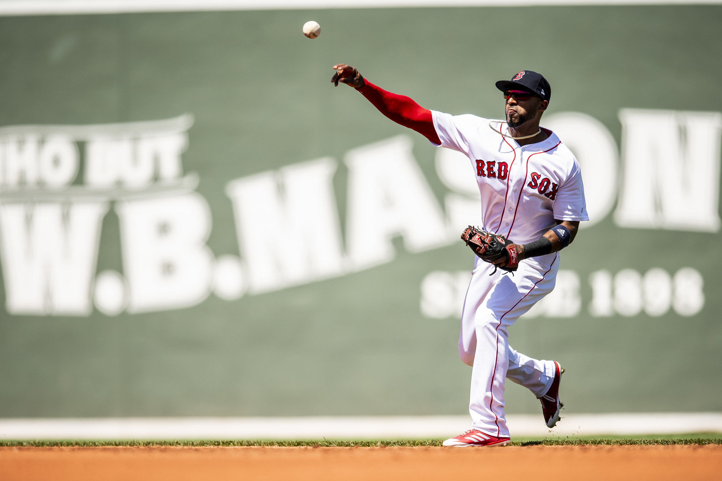 May 2, 2018, Boston, MA: Boston Red Sox second basemen Eduardo Nunez makes a throw from shortstop as the Boston Red Sox face the Kansas City Royals at Fenway Park in Boston, Massachusetts Wednesday, May 2, 2018. (Photo by Matthew Thomas/Boston Red Sox)
