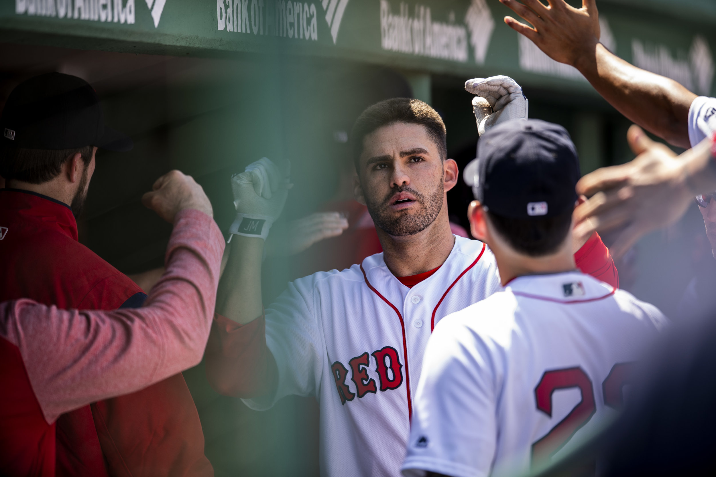 May 2, 2018, Boston, MA: Boston Red Sox designated hitter J.D. Martinez  celebrates in the dugout after he hit a home run as the Boston Red Sox face the Kansas City Royals at Fenway Park in Boston, Massachusetts Wednesday, May 2, 2018. (Photo by Matthew Thomas/Boston Red Sox)