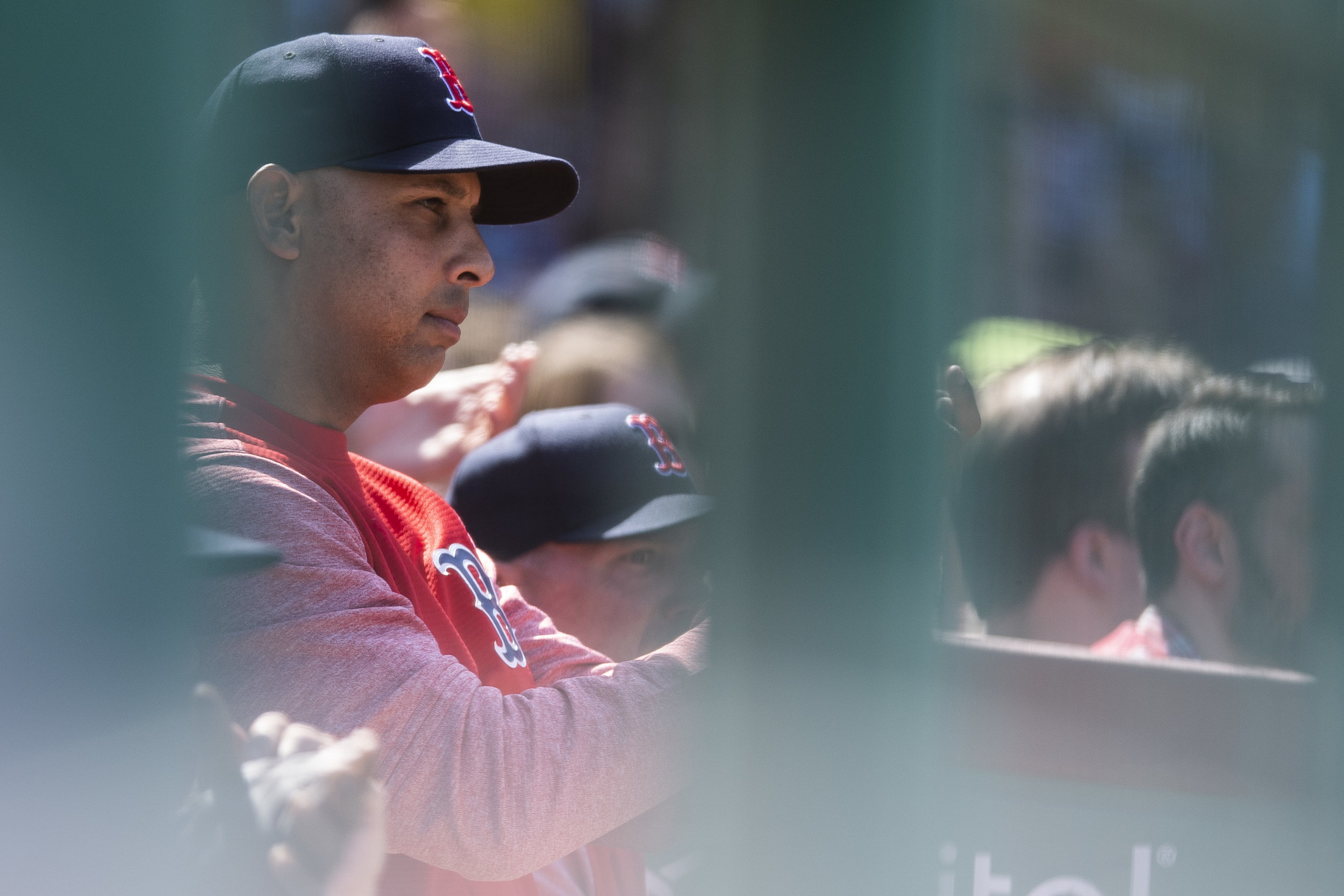 May 2, 2018, Boston, MA: Manager Alex Cora watches a replay from the dugout as the Boston Red Sox face the Kansas City Royals at Fenway Park in Boston, Massachusetts Wednesday, May 2, 2018. (Photo by Matthew Thomas/Boston Red Sox)