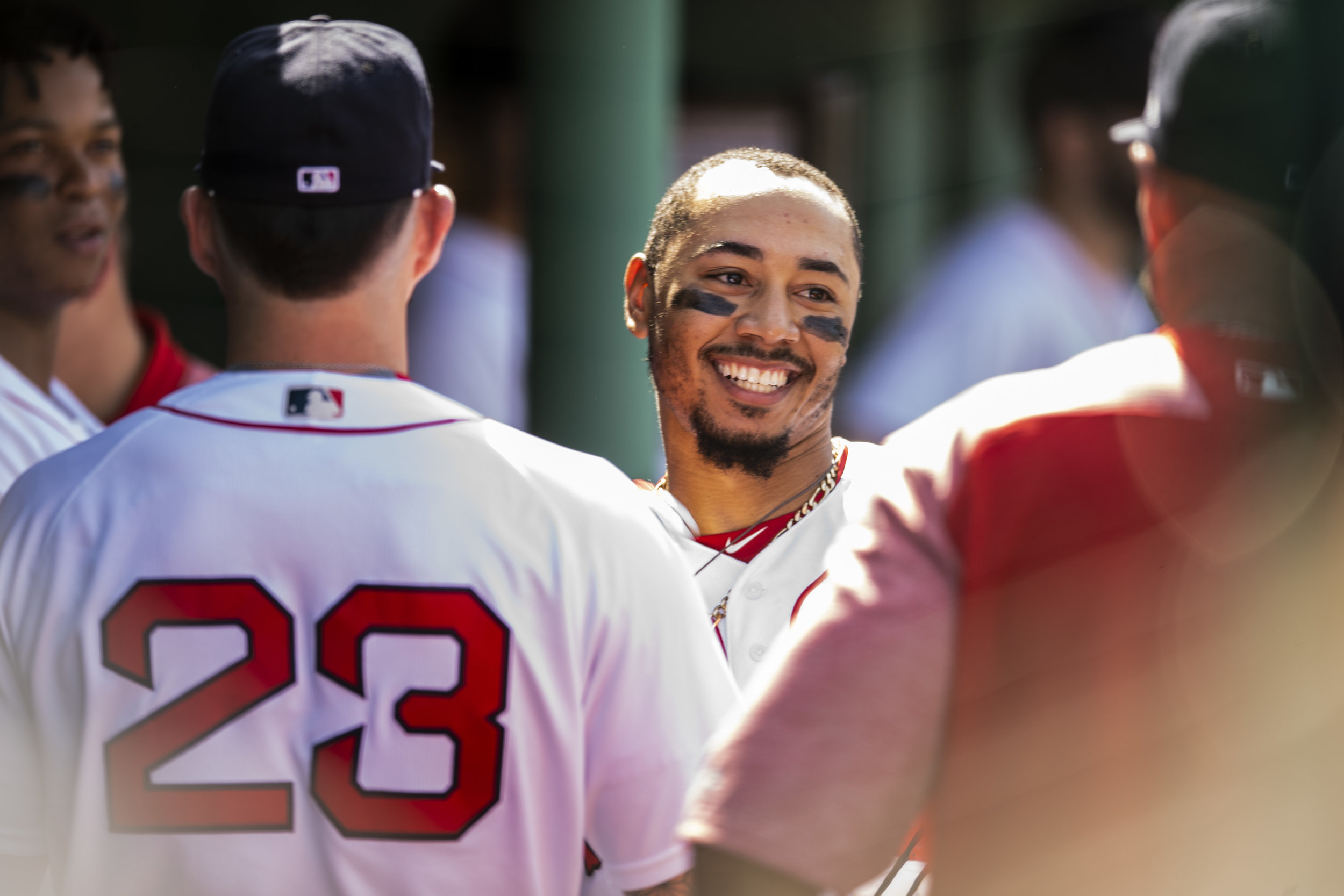 May 2, 2018, Boston, MA: Boston Red Sox outfielder Mookie Betts celebrates in the dugout after he hit a home run as the Boston Red Sox face the Kansas City Royals at Fenway Park in Boston, Massachusetts Wednesday, May 2, 2018. (Photo by Matthew Thomas/Boston Red Sox)