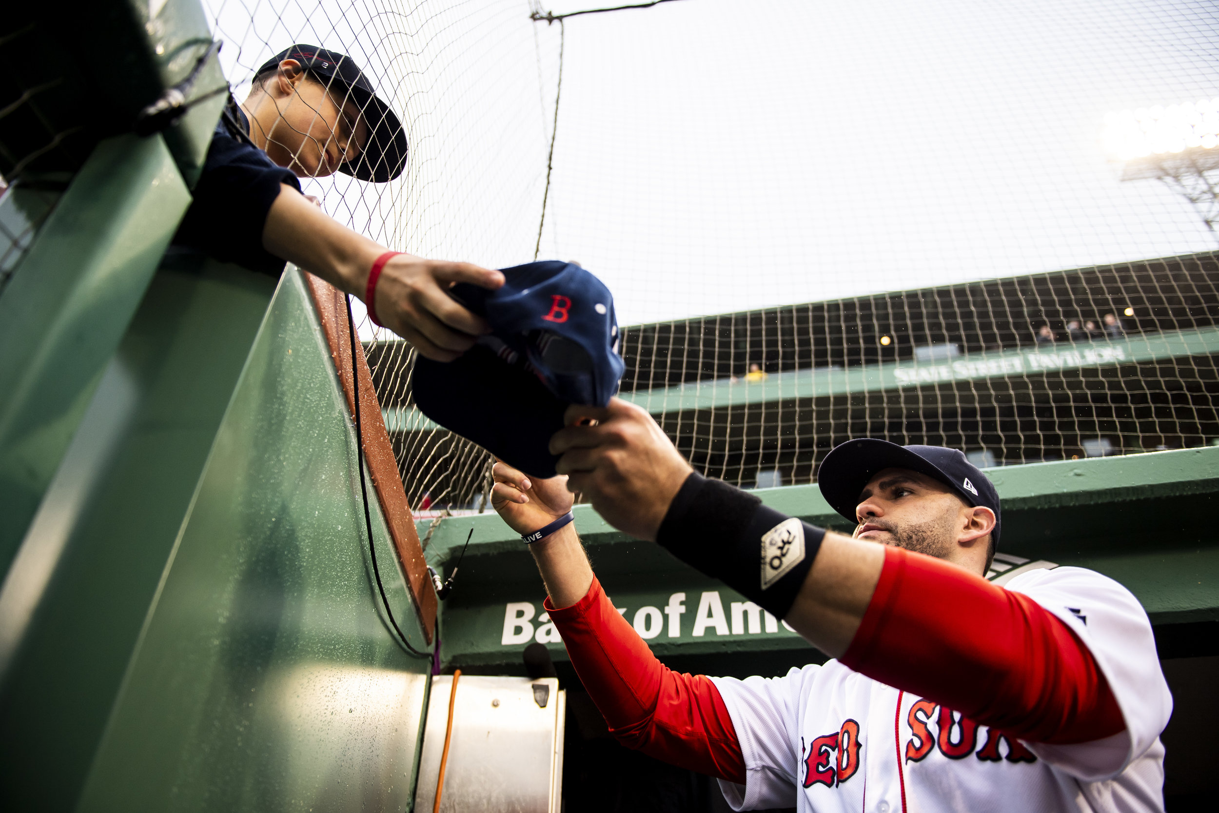 May 19, 2018, Boston, MA: Boston Red Sox left fielder J.D. Martinez signs autographs for fans before the Boston Red Sox face the Baltimore Orioles at Fenway Park in Boston, Massachusetts on Saturday, May 19, 2018. (Photo by Matthew Thomas/Boston Red Sox)