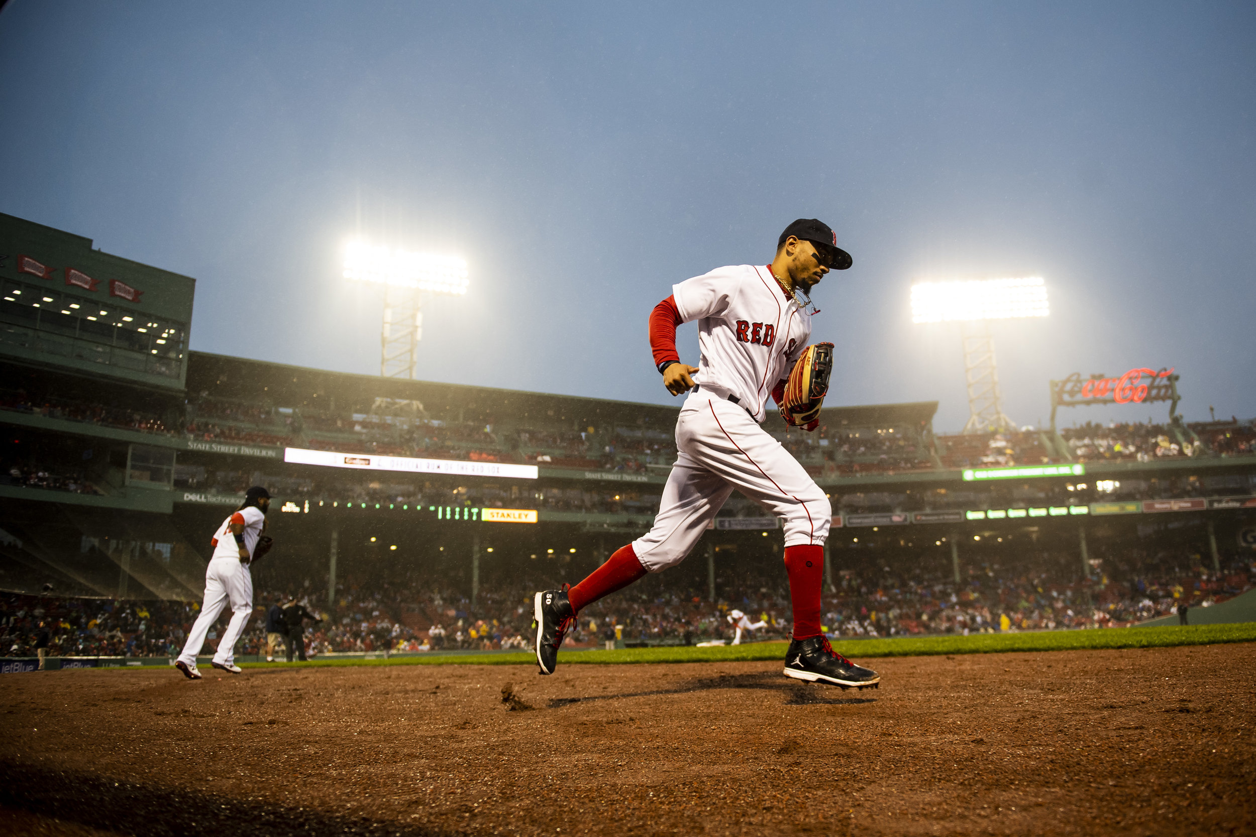 May 19, 2018, Boston, MA: Boston Red Sox outfielder Mookie Betts takes the field as the Boston Red Sox face the Baltimore Orioles at Fenway Park in Boston, Massachusetts on Saturday, May 19, 2018. (Photo by Matthew Thomas/Boston Red Sox)