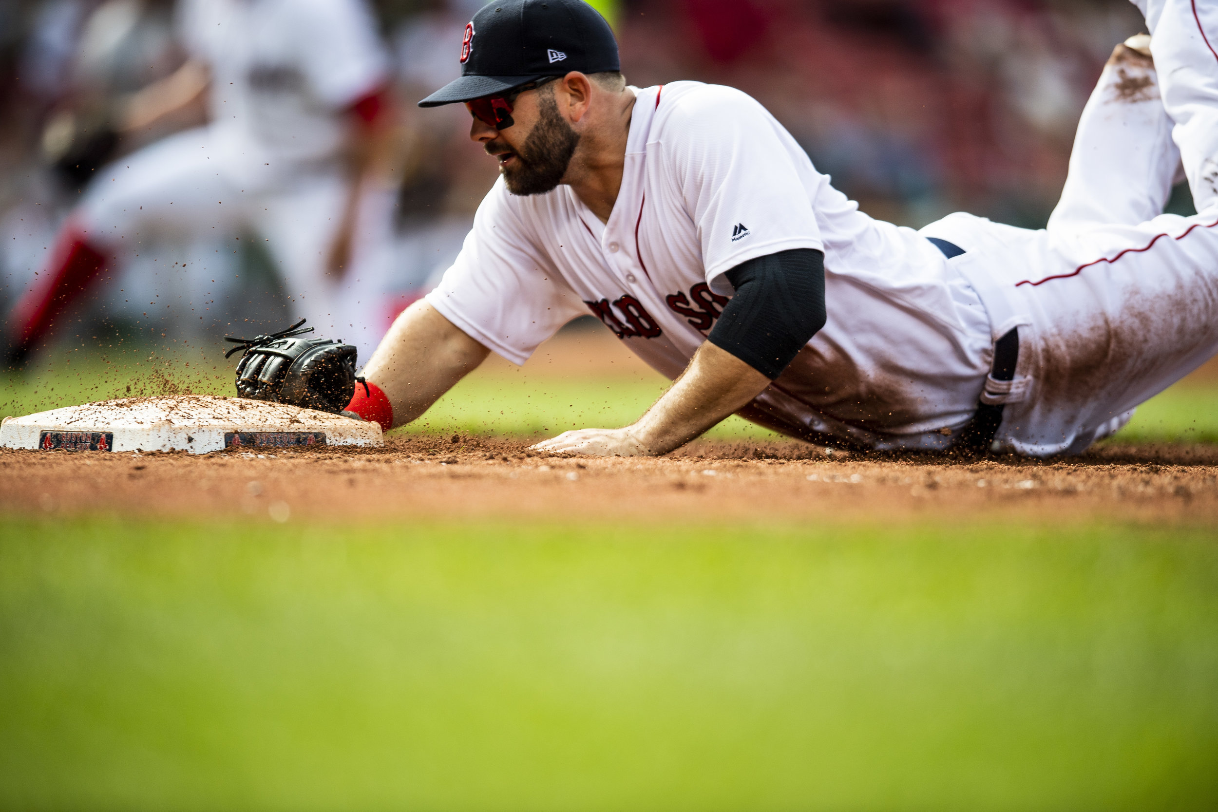 May 20, 2018, Boston, MA: Boston Red Sox first basemen Mitch Moreland dives and tags first base for an out as the Boston Red Sox face the Baltimore Orioles at Fenway Park in Boston, Massachusetts on Saturday, May 20, 2018. (Photo by Matthew Thomas/Boston Red Sox)