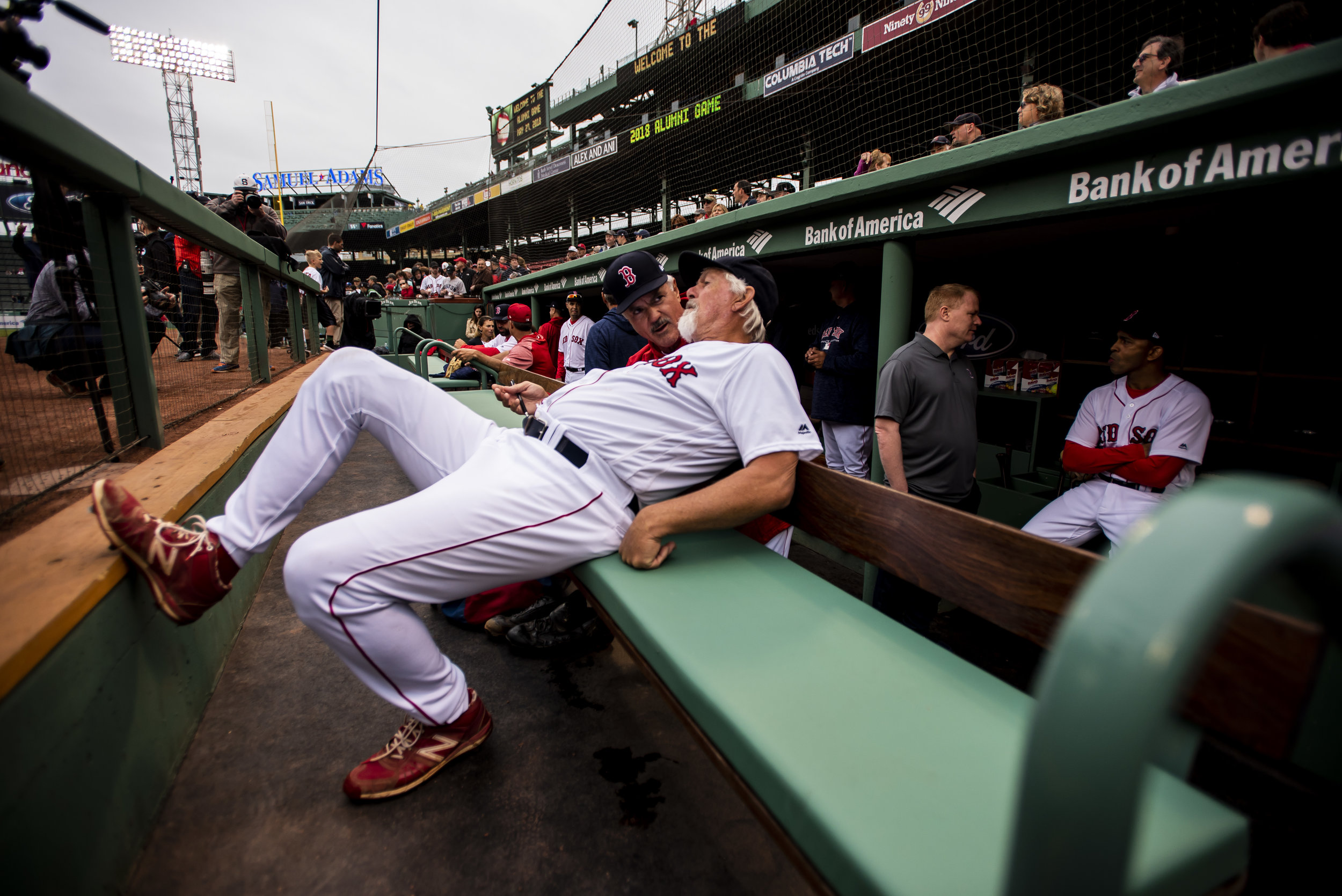 May 27, 2018, Boston, MA: Former Red Sox Spaceman Bill Lee stretches out in the dugout before the Red Sox Alumni Game at Fenway Park in Boston, Massachusetts on Sunday, May 27, 2018. (Photo by Matthew Thomas/Boston Red Sox)
