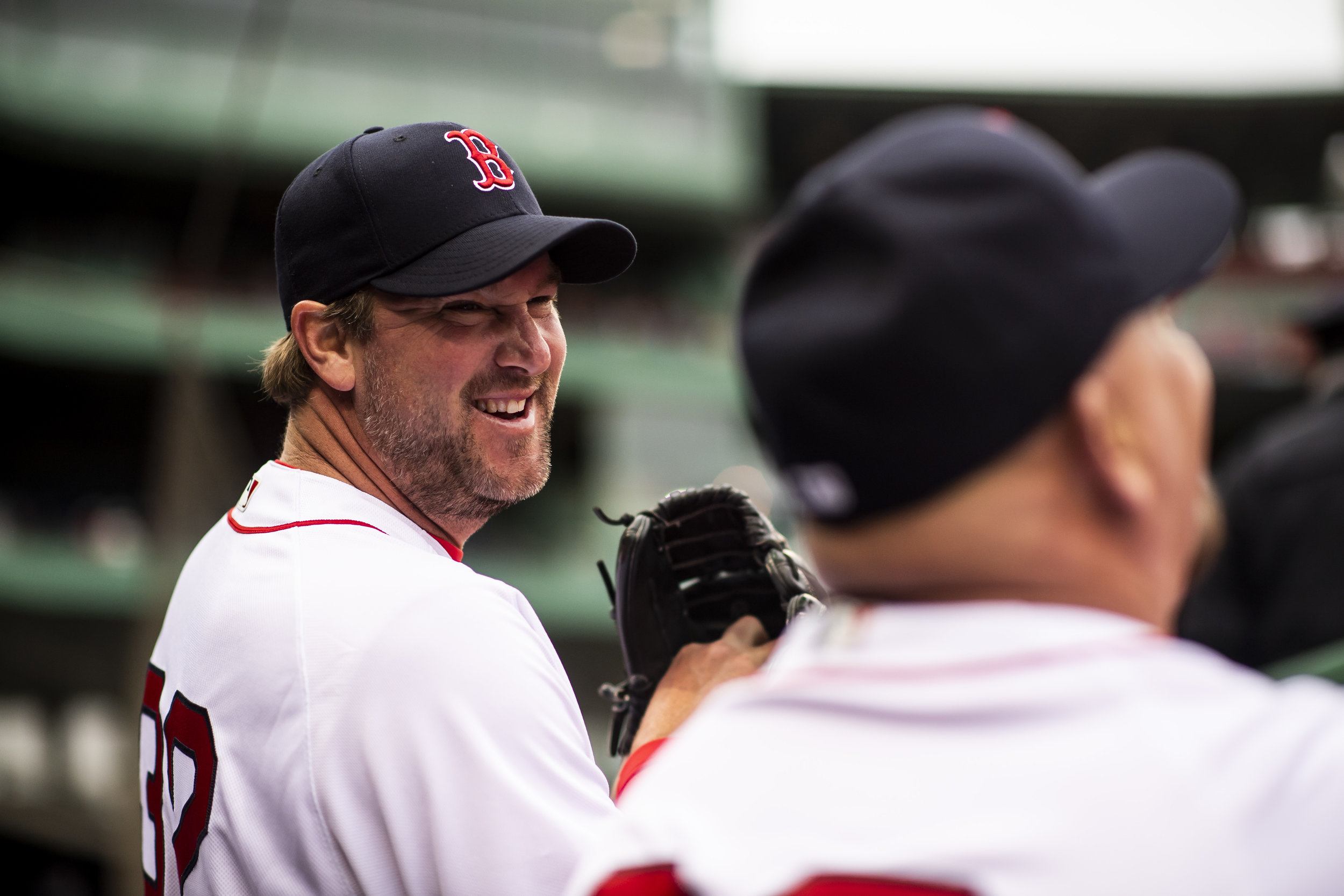 May 27, 2018, Boston, MA: Derek Lowe smiles and laughs during the Red Sox Alumni Game at Fenway Park in Boston, Massachusetts on Sunday, May 27, 2018. (Photo by Matthew Thomas/Boston Red Sox)
