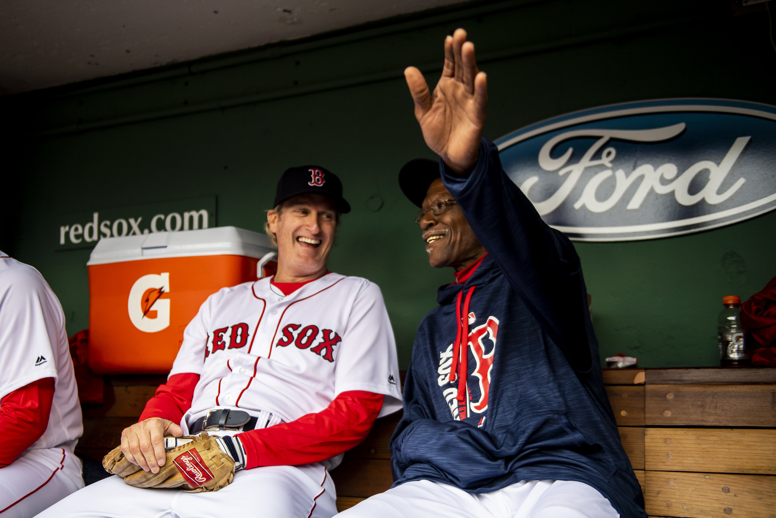 May 27, 2018, Boston, MA: Oil Can Boyd and Steve Lyons chat during the Red Sox Alumni Game at Fenway Park in Boston, Massachusetts on Sunday, May 27, 2018. (Photo by Matthew Thomas/Boston Red Sox)