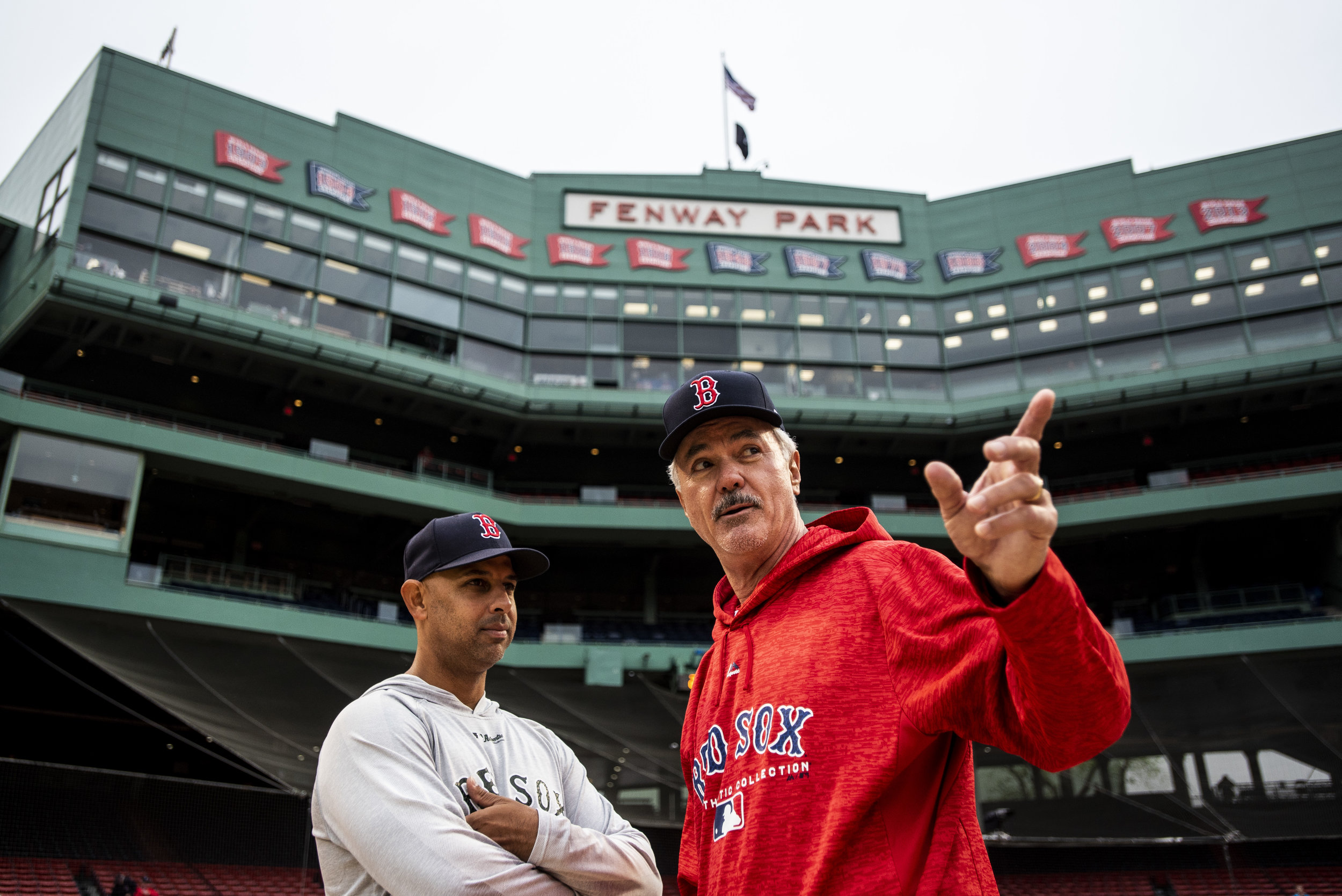 May 27, 2018, Boston, MA: Red Sox Manager Alex Cora talks with Dwight Evans before the Red Sox Alumni Game at Fenway Park in Boston, Massachusetts on Sunday, May 27, 2018. (Photo by Matthew Thomas/Boston Red Sox)