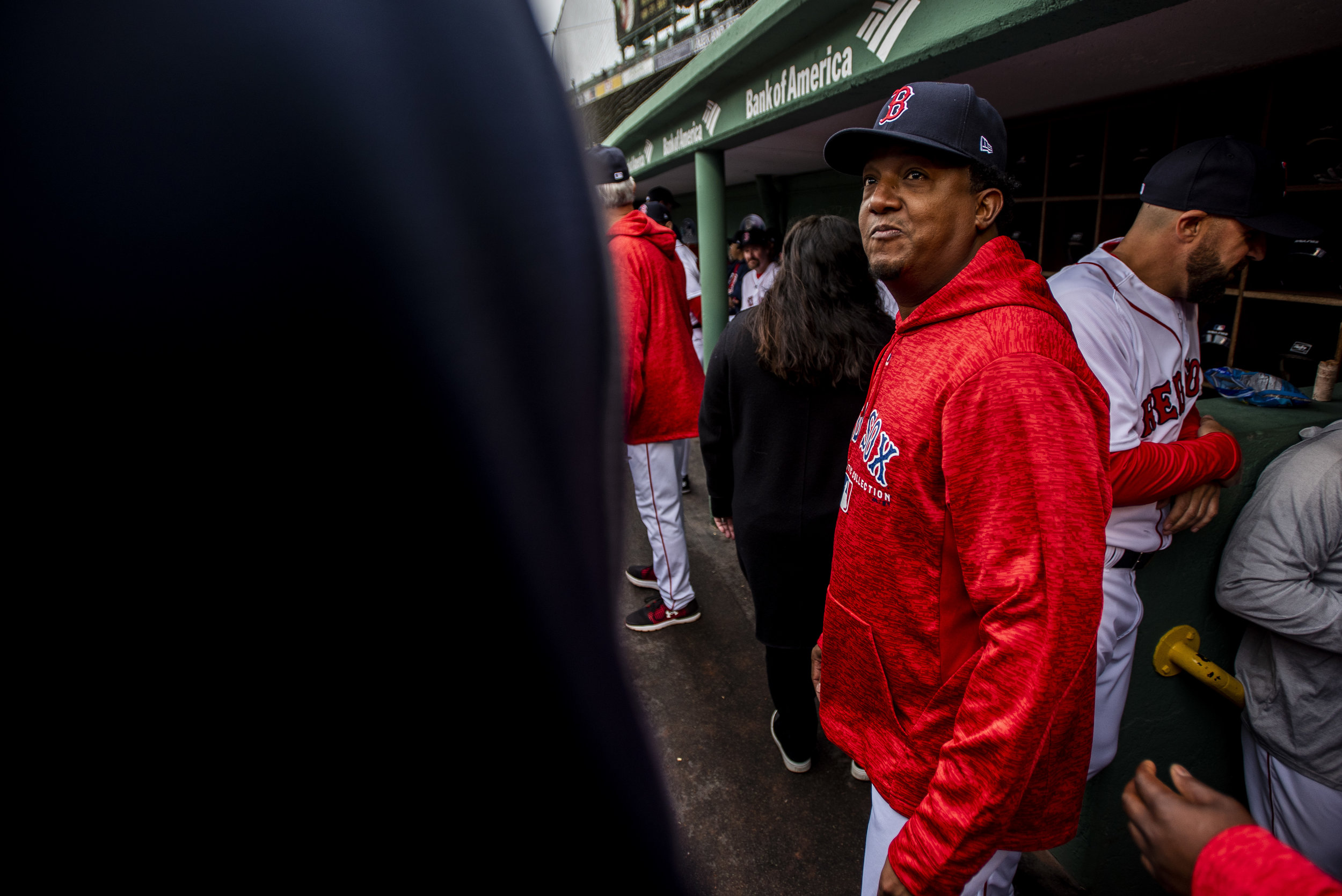 May 27, 2018, Boston, MA: Pedro Martinez hangs out in the dugout during the Red Sox Alumni Game at Fenway Park in Boston, Massachusetts on Sunday, May 27, 2018. (Photo by Matthew Thomas/Boston Red Sox)