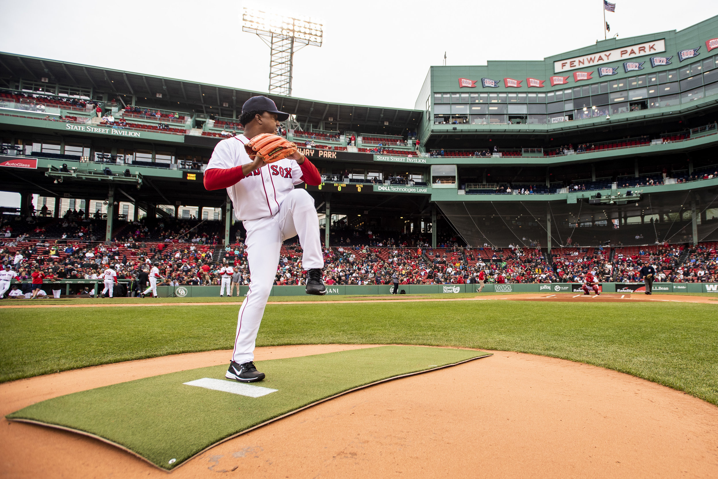 May 27, 2018, Boston, MA: Pedro Martinez throws off the mound during the Red Sox Alumni Game at Fenway Park in Boston, Massachusetts on Sunday, May 27, 2018. (Photo by Matthew Thomas/Boston Red Sox)
