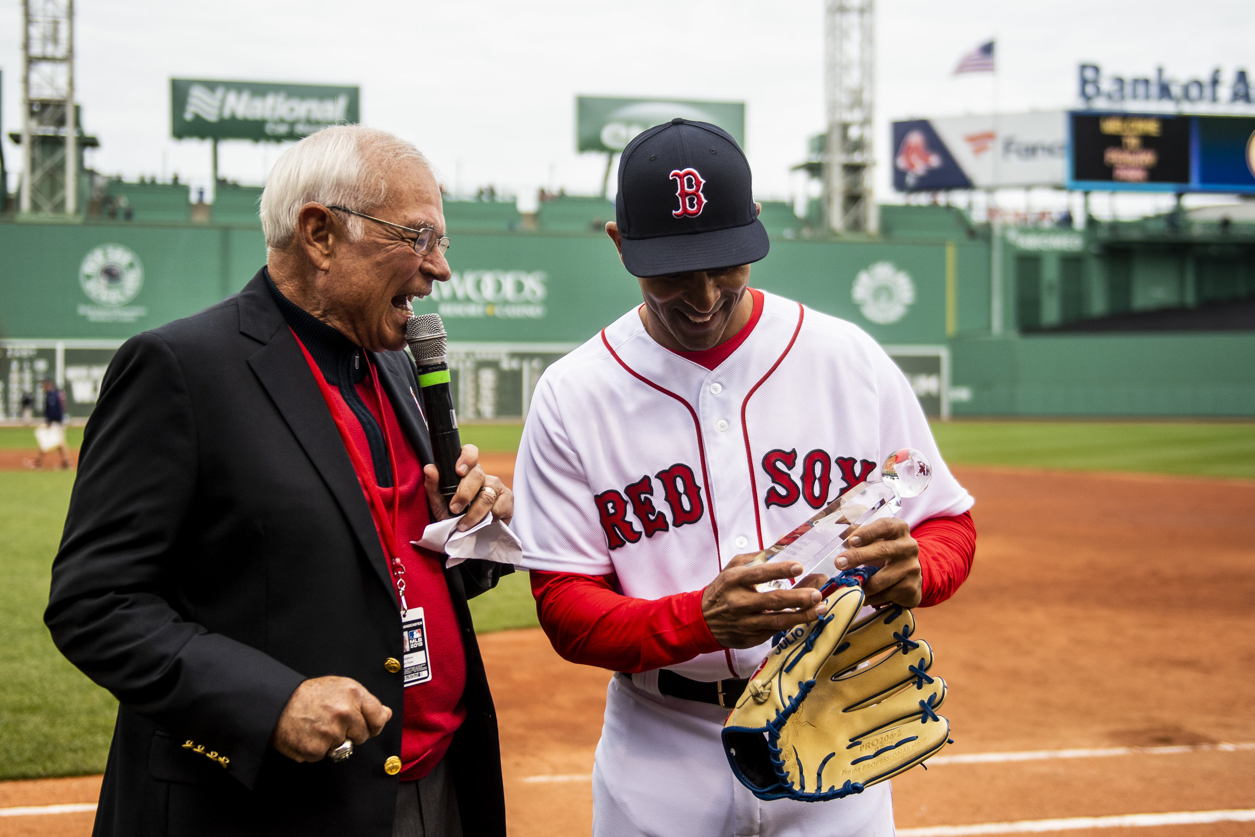 May 27, 2018, Boston, MA: Julio Lugo is presented with the MVP award at the Red Sox Alumni Game at Fenway Park in Boston, Massachusetts on Sunday, May 27, 2018. (Photo by Matthew Thomas/Boston Red Sox)