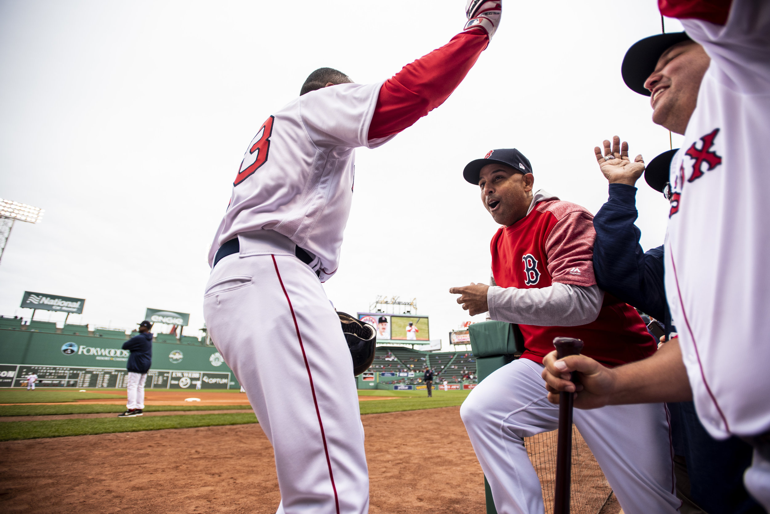 May 27, 2018, Boston, MA: Julio Lugo returns to the dugout after hitting a home run off of Pedro Martinez during the Red Sox Alumni Game at Fenway Park in Boston, Massachusetts on Sunday, May 27, 2018. (Photo by Matthew Thomas/Boston Red Sox)