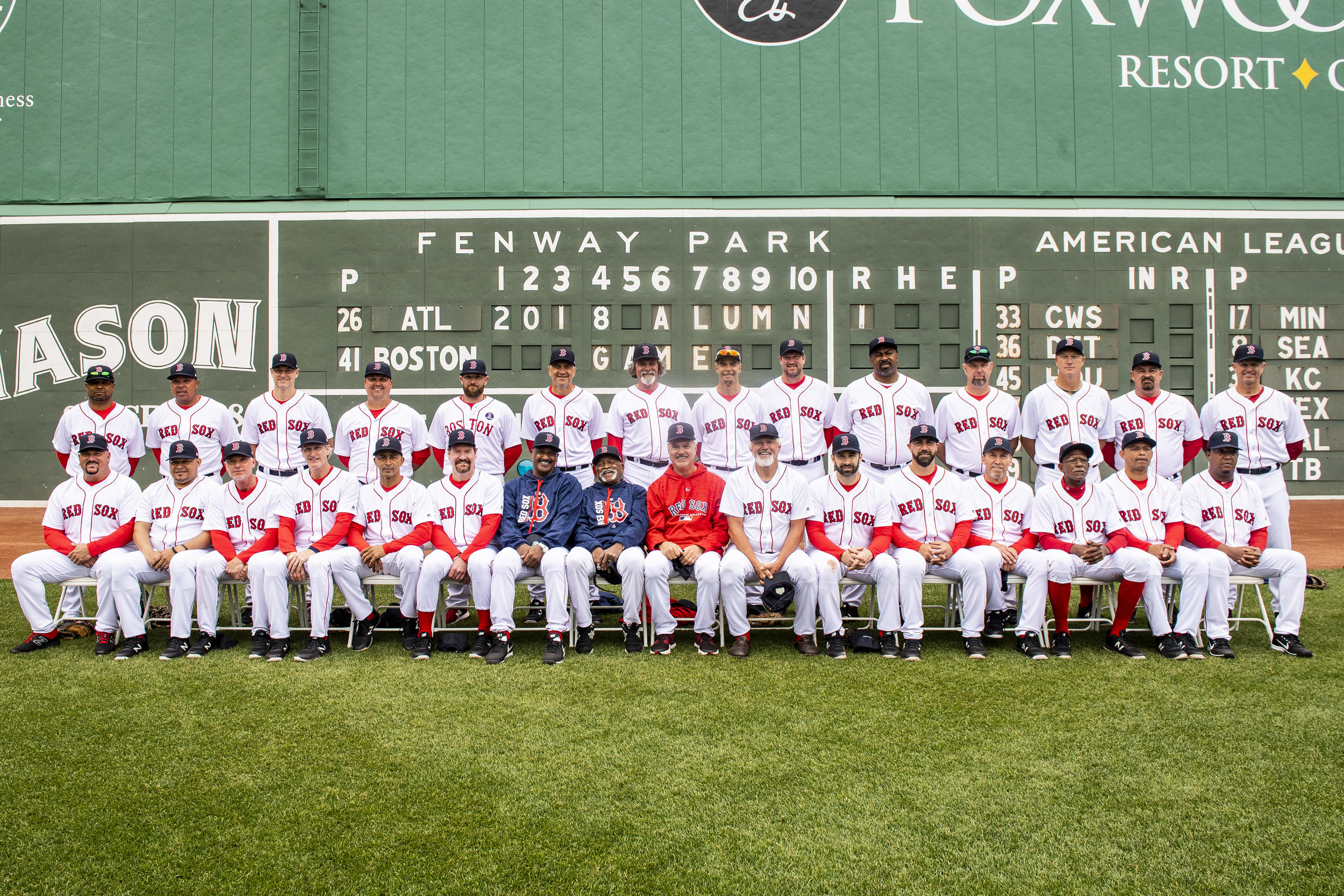 May 27, 2018, Boston, MA: Team Photo after the Red Sox Alumni Game at Fenway Park in Boston, Massachusetts on Sunday, May 27, 2018. (Photo by Matthew Thomas/Boston Red Sox)