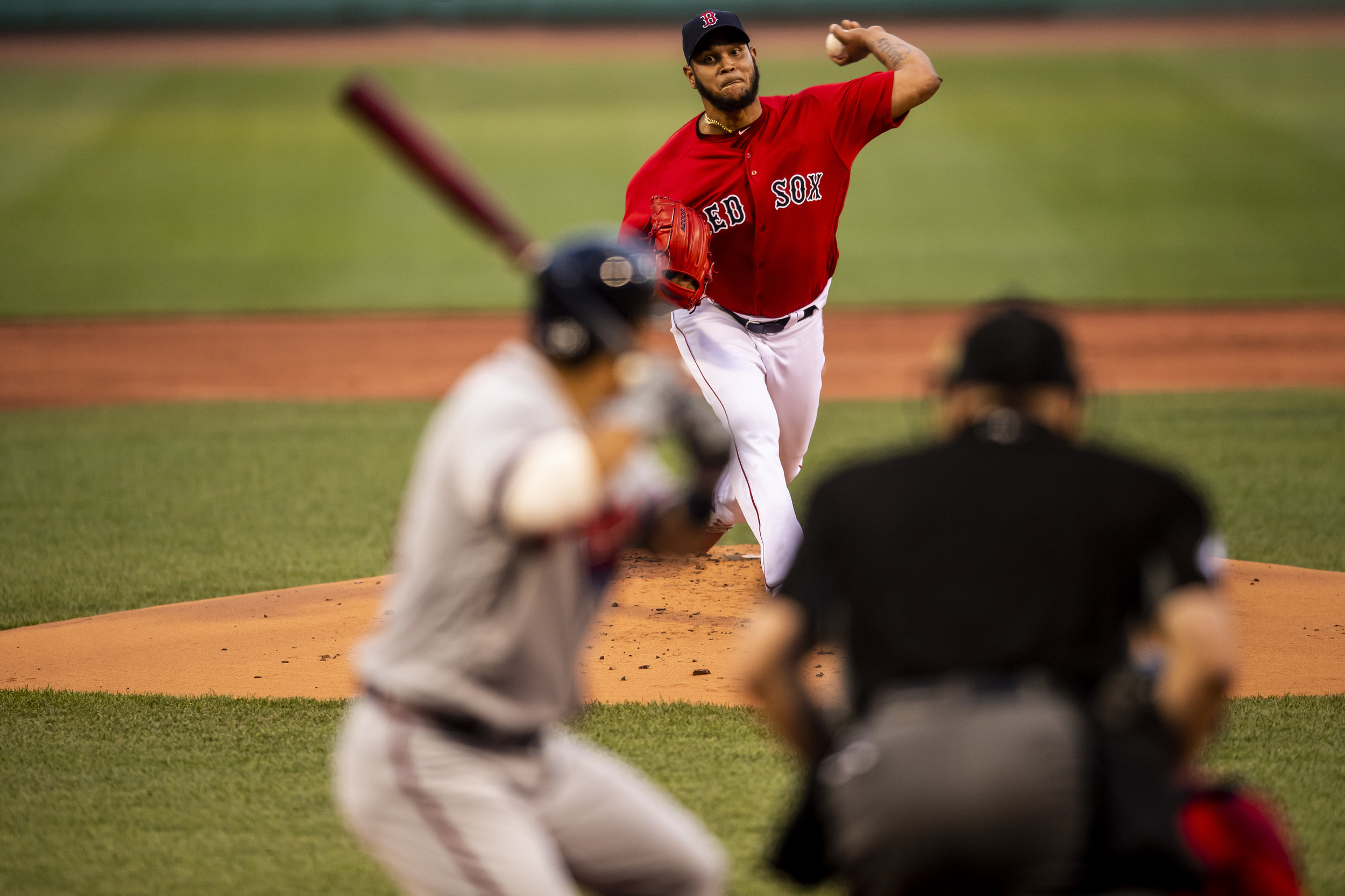 May 25, 2018, Boston, MA: Boston Red Sox pitcher Eduardo Rodriguez delivers a pitch in the first inning as the Boston Red Sox face the Atlanta Braves at Fenway Park in Boston, Massachusetts on Friday, May 25, 2018. (Photo by Matthew Thomas/Boston Red Sox)