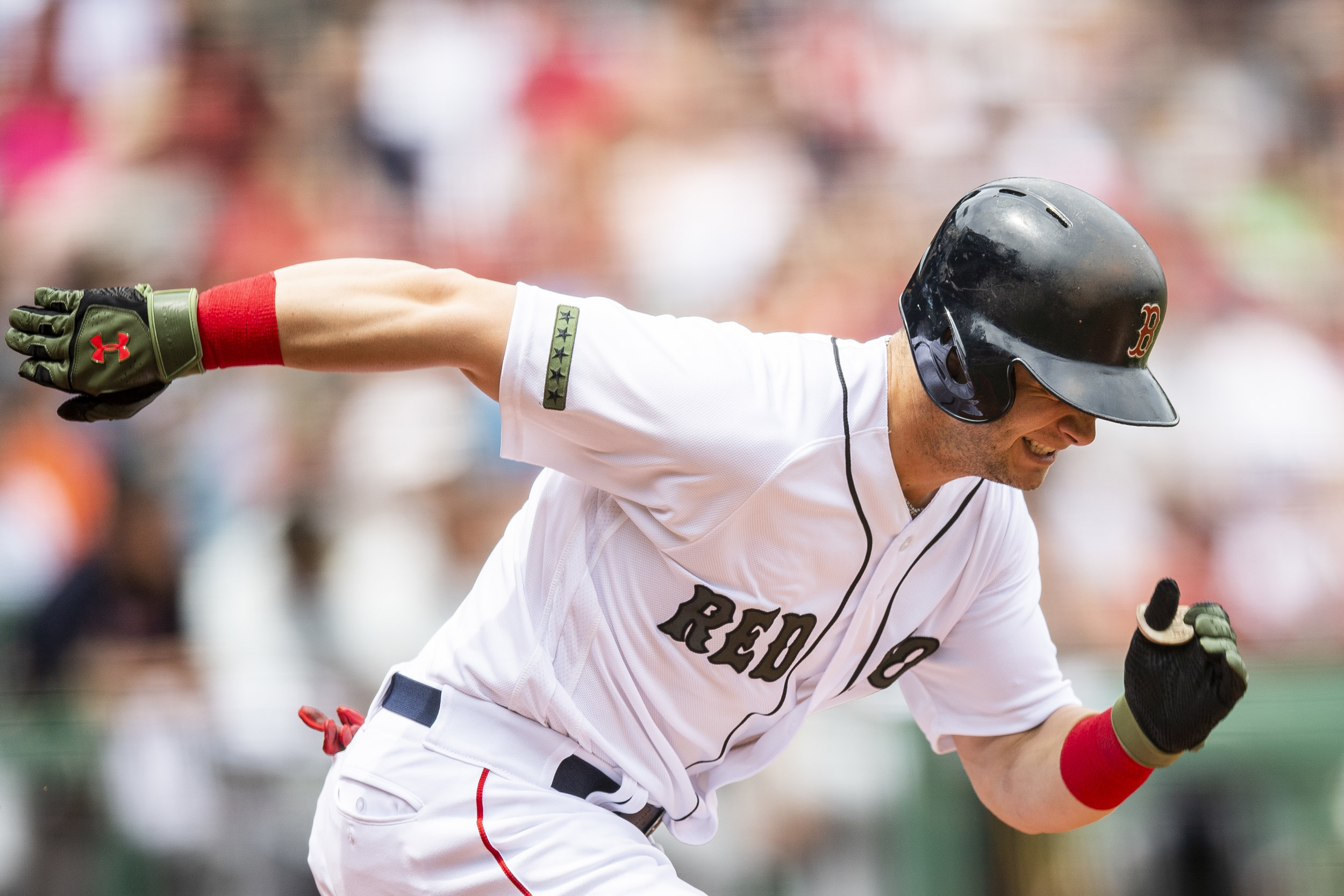 May 26, 2018, Boston, MA: Boston Red Sox outfielder Andrew Benintendi runs down the first base line as the Boston Red Sox face the Atlanta Braves at Fenway Park in Boston, Massachusetts on Saturday, May 26, 2018. (Photo by Matthew Thomas/Boston Red Sox)