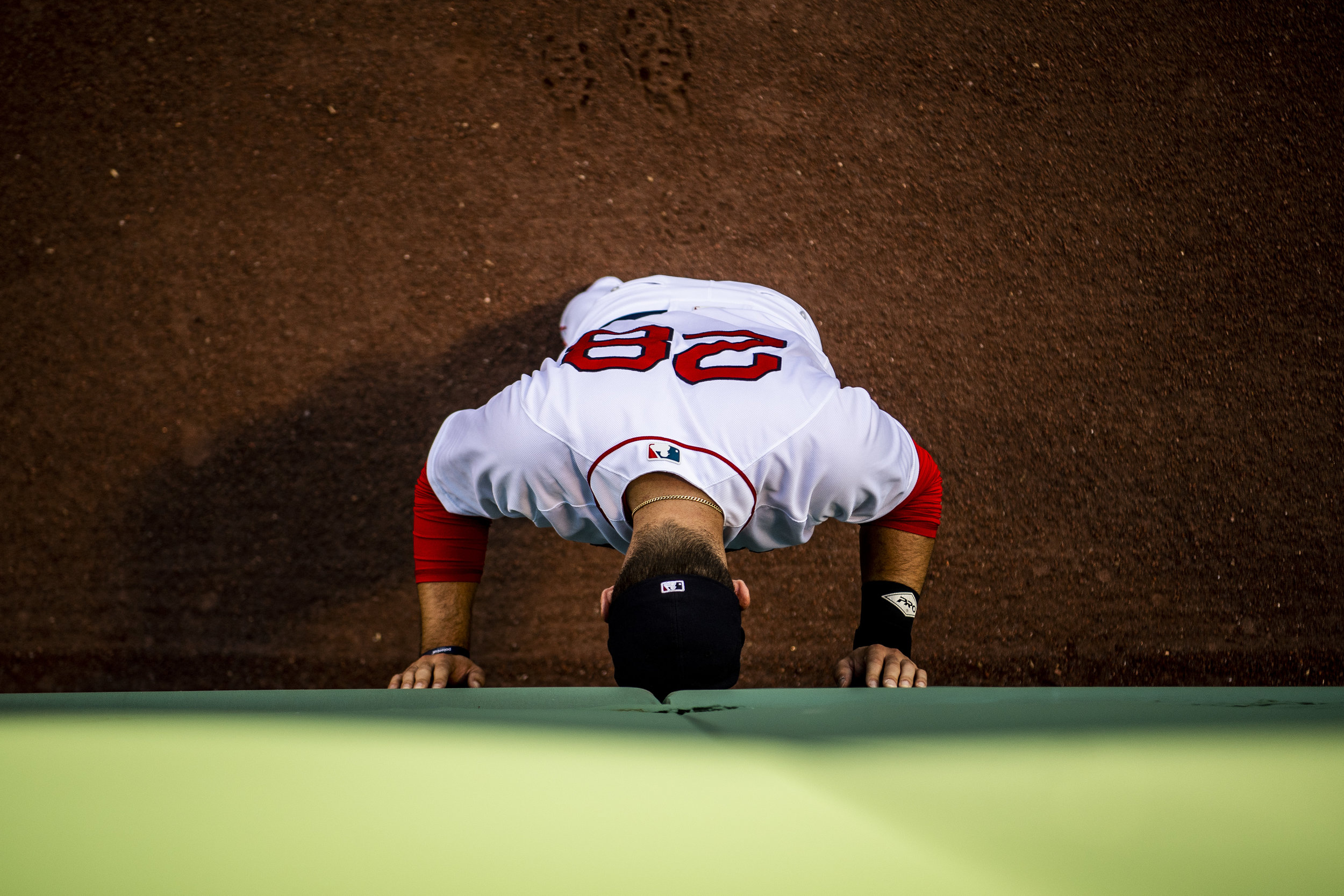 1May 29, 2018, Boston, MA: Boston Red Sox designated hitter J.D. Martinez goes through his pregame ritual in the outfield before the Boston Red Sox face the Toronto Blue Jays at Fenway Park in Boston, Massachusetts on Tuesday, May 29, 2018. (Photo by Matthew Thomas/Boston Red Sox)