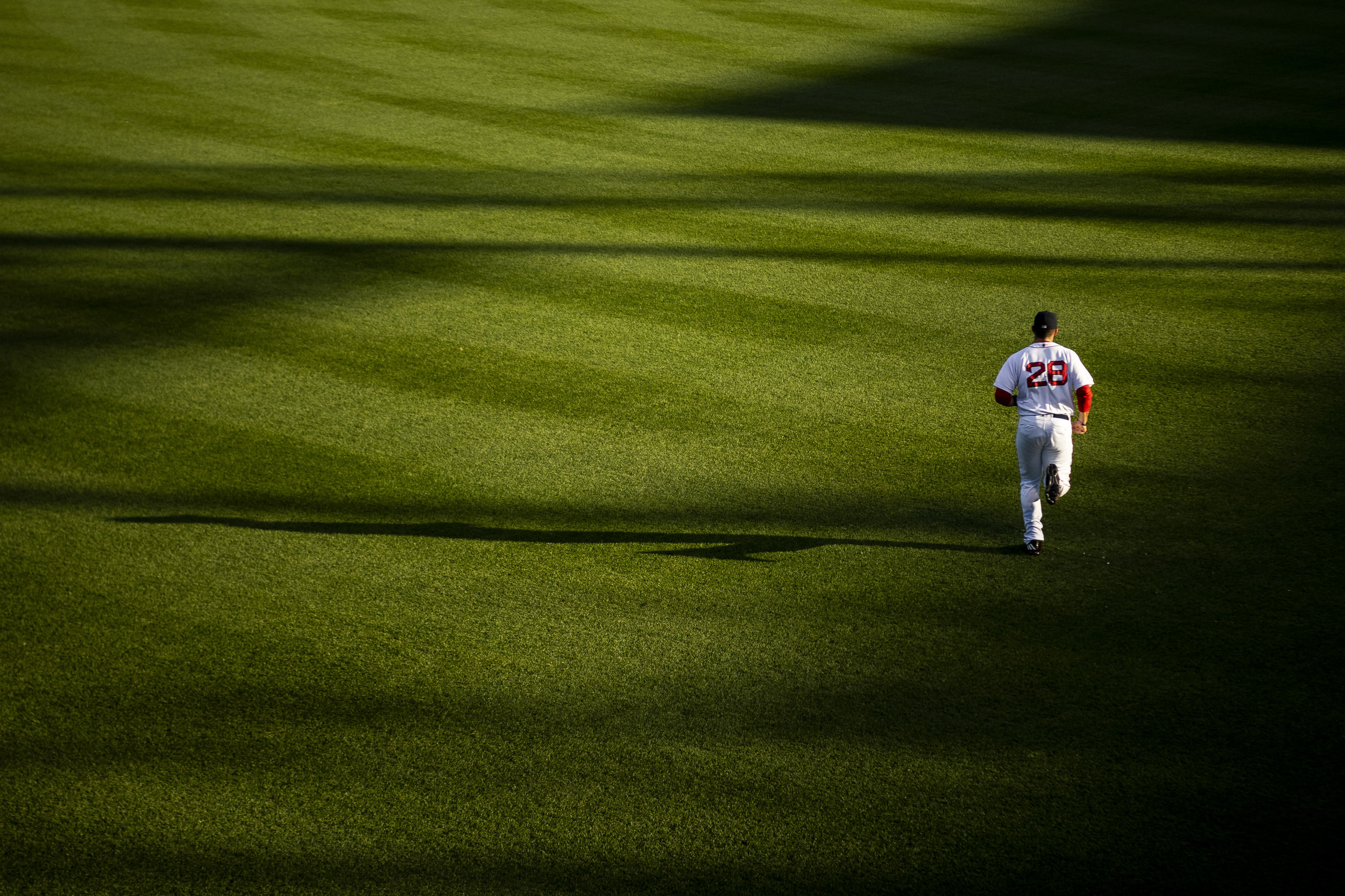 May 29, 2018, Boston, MA: Boston Red Sox designated hitter J.D. Martinez jogs back to the dugout from the outfield before the Boston Red Sox face the Toronto Blue Jays at Fenway Park in Boston, Massachusetts on Tuesday, May 29, 2018. (Photo by Matthew Thomas/Boston Red Sox)