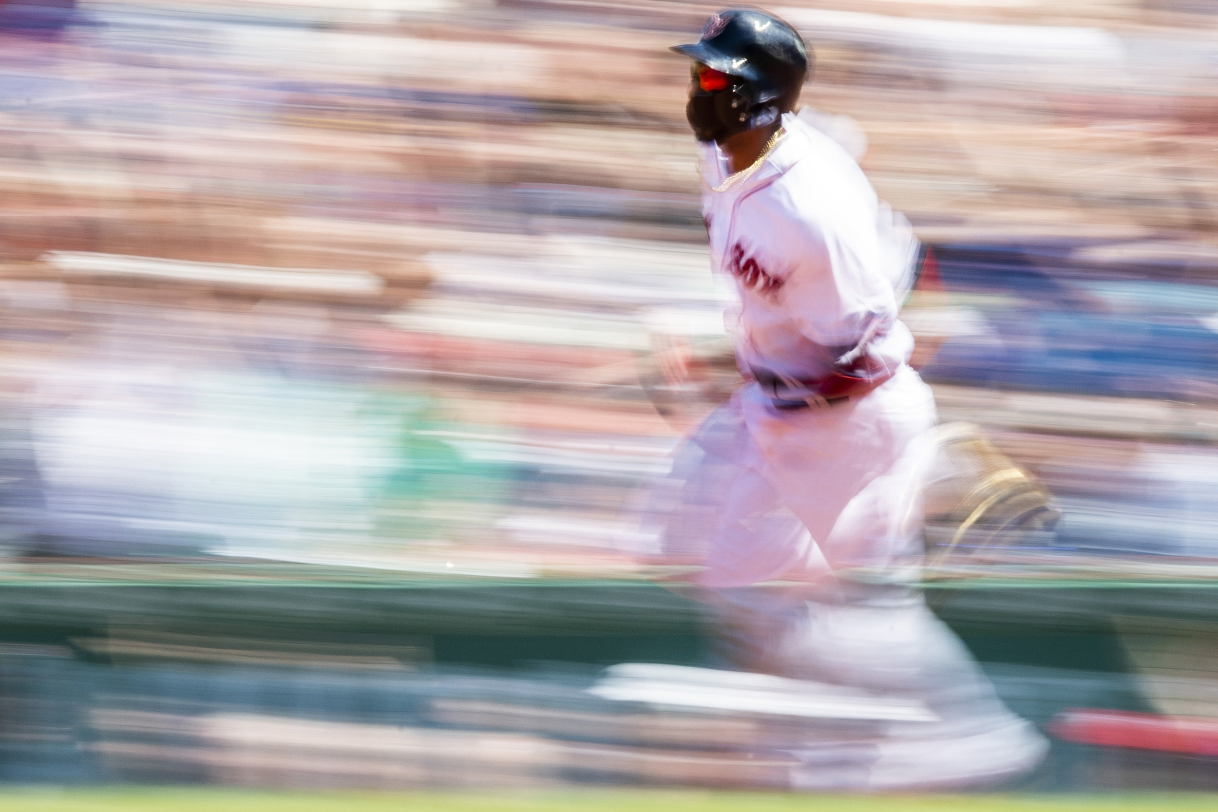 May 30, 2018, Boston, MA: Boston Red Sox second basemen Eduardo Nunez makes his way around the bases after hitting a home run as the Boston Red Sox face the Toronto Blue Jays at Fenway Park in Boston, Massachusetts on Wednesday, May 30, 2018. (Photo by Matthew Thomas/Boston Red Sox)
