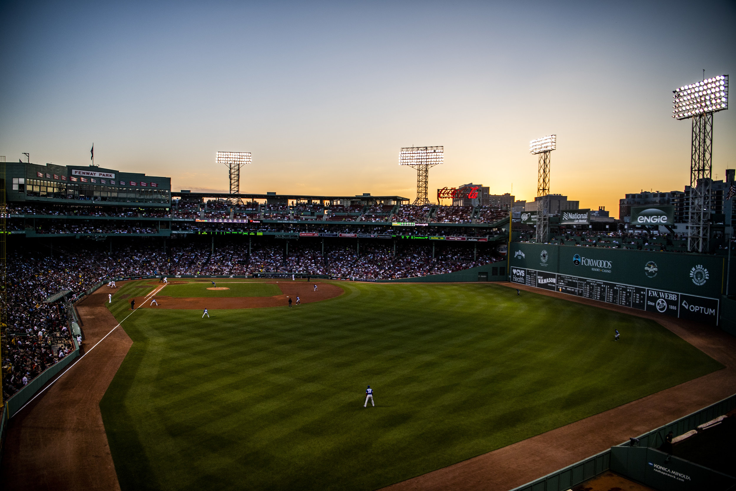 May 29, 2018, Boston, MA: The sun sets over the ballpark as the Boston Red Sox face the Toronto Blue Jays at Fenway Park in Boston, Massachusetts on Tuesday, May 29, 2018. (Photo by Matthew Thomas/Boston Red Sox)