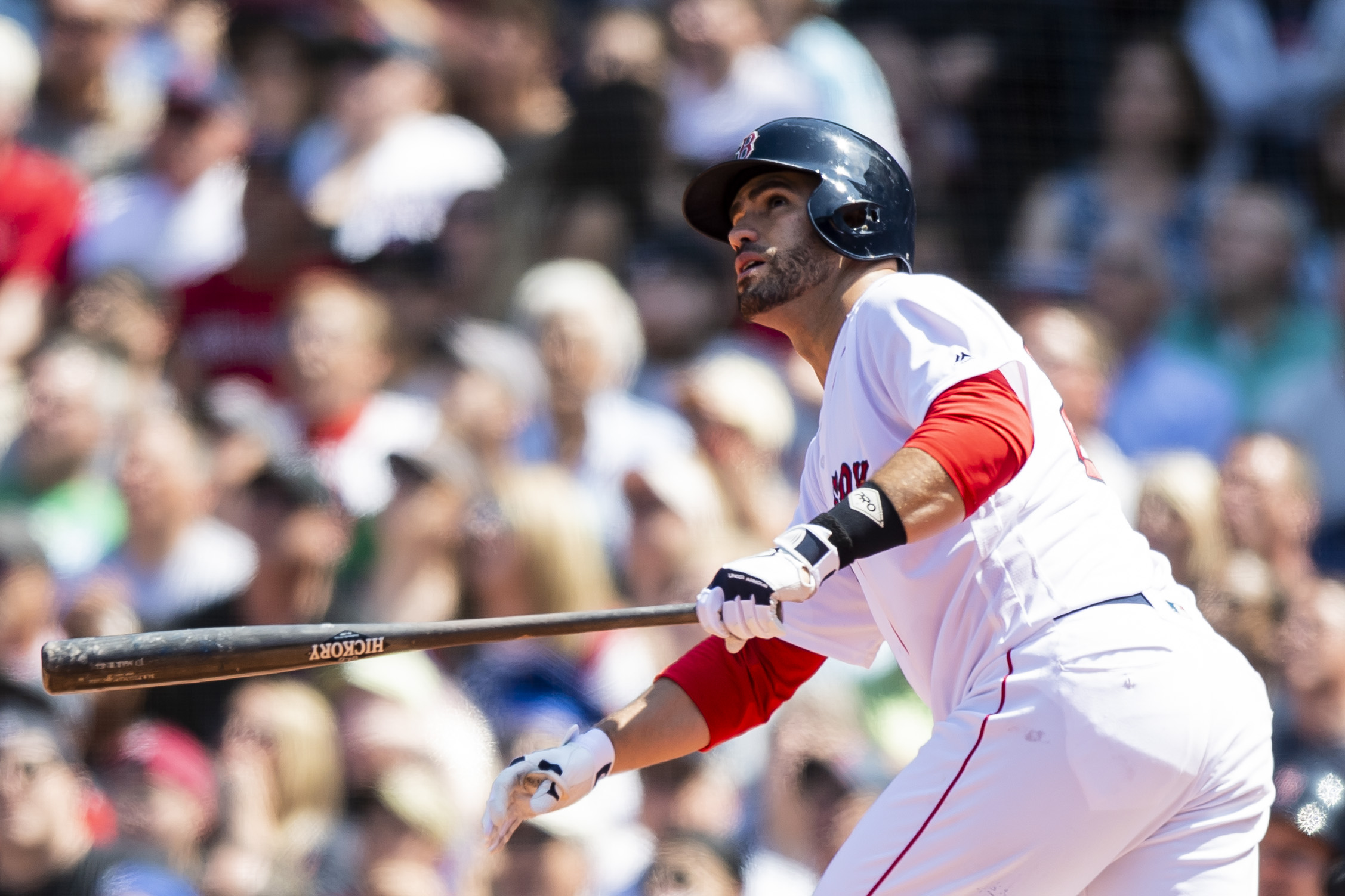 May 30, 2018, Boston, MA: Boston Red Sox J.D. Martinez swings and hits a home run as the Boston Red Sox face the Toronto Blue Jays at Fenway Park in Boston, Massachusetts on Wednesday, May 30, 2018. (Photo by Matthew Thomas/Boston Red Sox)