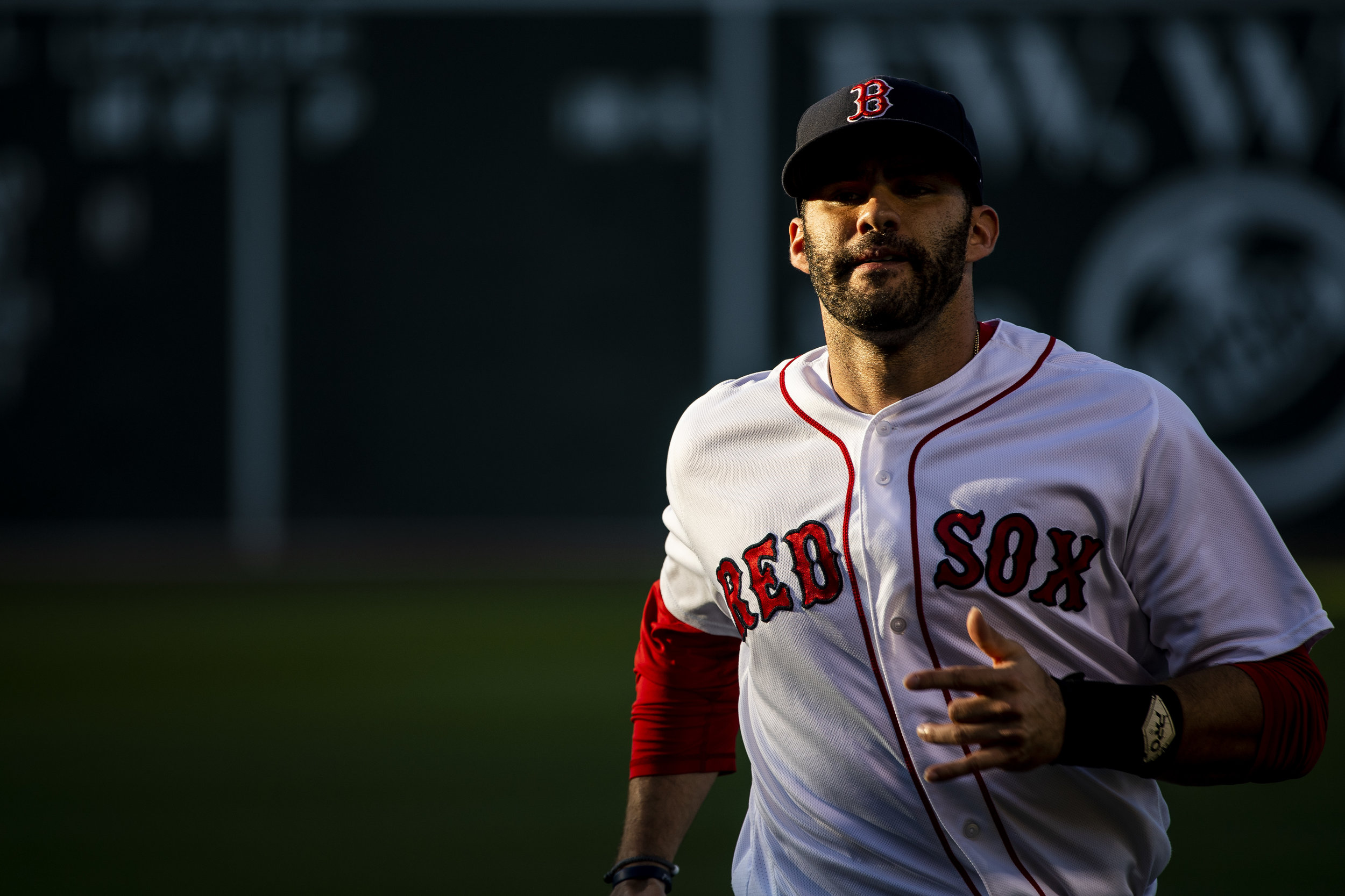 July 8, 2018, Boston, MA: Boston Red Sox outfielder J.D. Martinez jogs to warms up before the Boston Red Sox face the Texas Rangers Fenway Park in Boston, Massachusetts on Monday, July 9, 2018. (Photo by Matthew Thomas/Boston Red Sox)