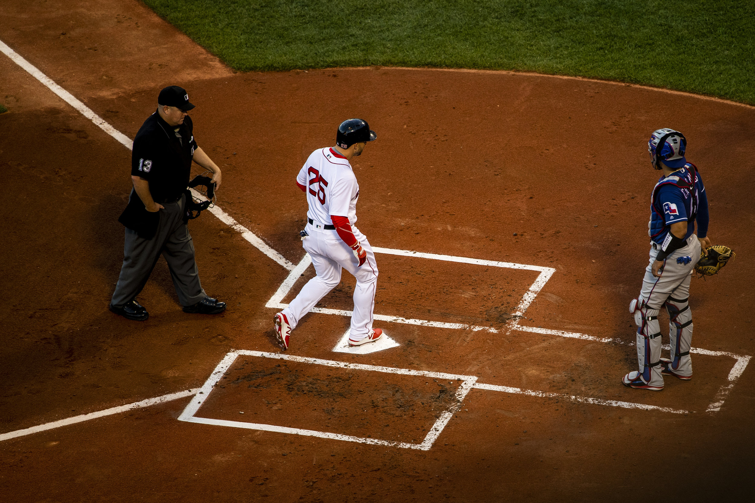 July 8, 2018, Boston, MA: Boston Red Sox infielder Steve Pearce crosses home plate after hitting a home run as the Boston Red Sox face the Texas Rangers Fenway Park in Boston, Massachusetts on Monday, July 9, 2018. (Photo by Matthew Thomas/Boston Red Sox)