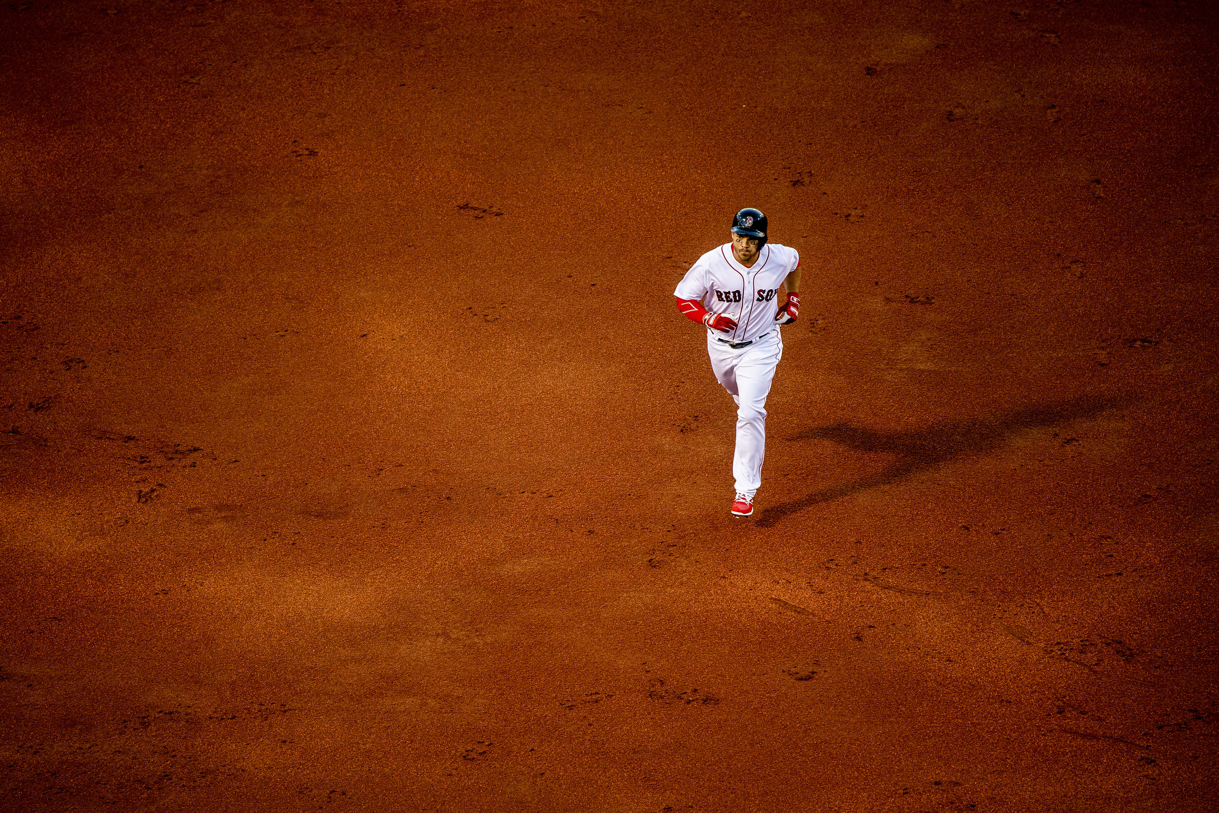 July 8, 2018, Boston, MA: Boston Red Sox infielder Steve Pearce jogs around the bases after hitting a home run as the Boston Red Sox face the Texas Rangers Fenway Park in Boston, Massachusetts on Monday, July 9, 2018. (Photo by Matthew Thomas/Boston Red Sox)