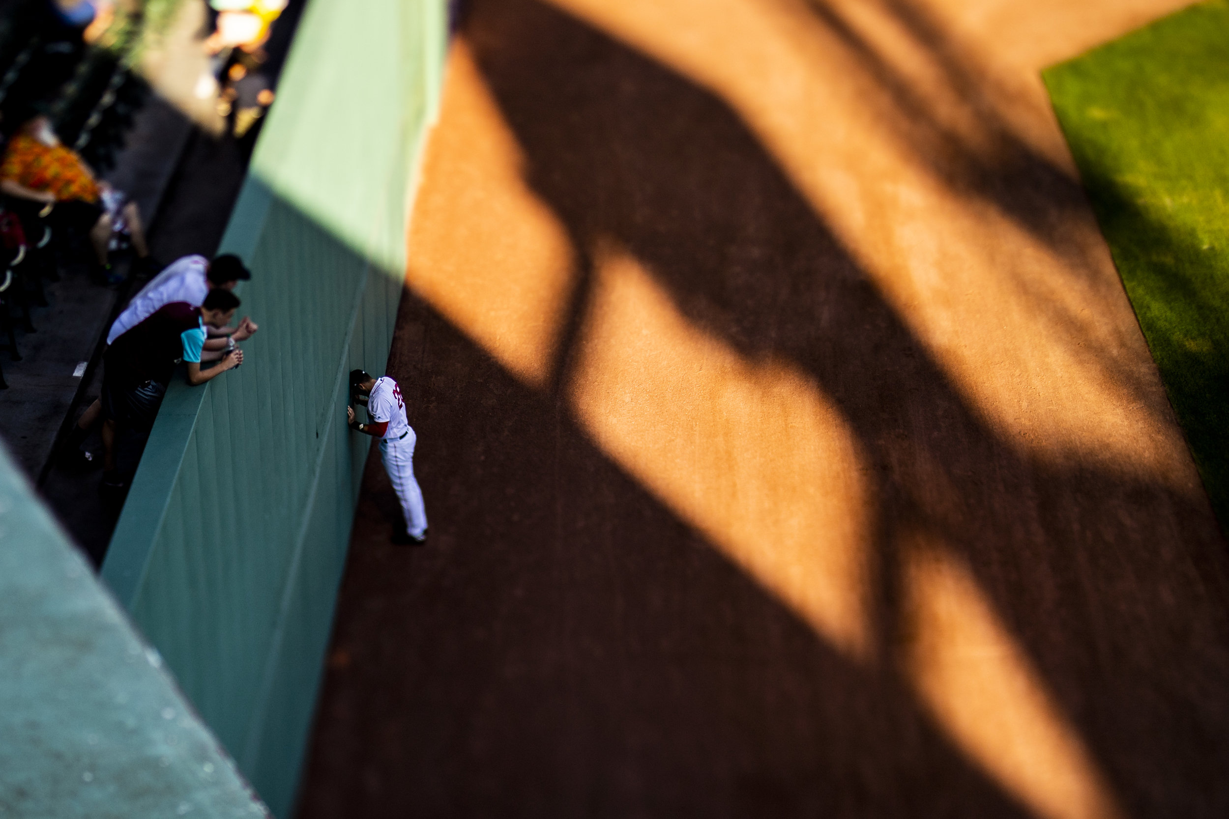 July 8, 2018, Boston, MA: Boston Red Sox outfielder J.D. Martinez goes through his pregame ritual in the outfield before the Boston Red Sox face the Texas Rangers Fenway Park in Boston, Massachusetts on Monday, July 9, 2018. (Photo by Matthew Thomas/Boston Red Sox)