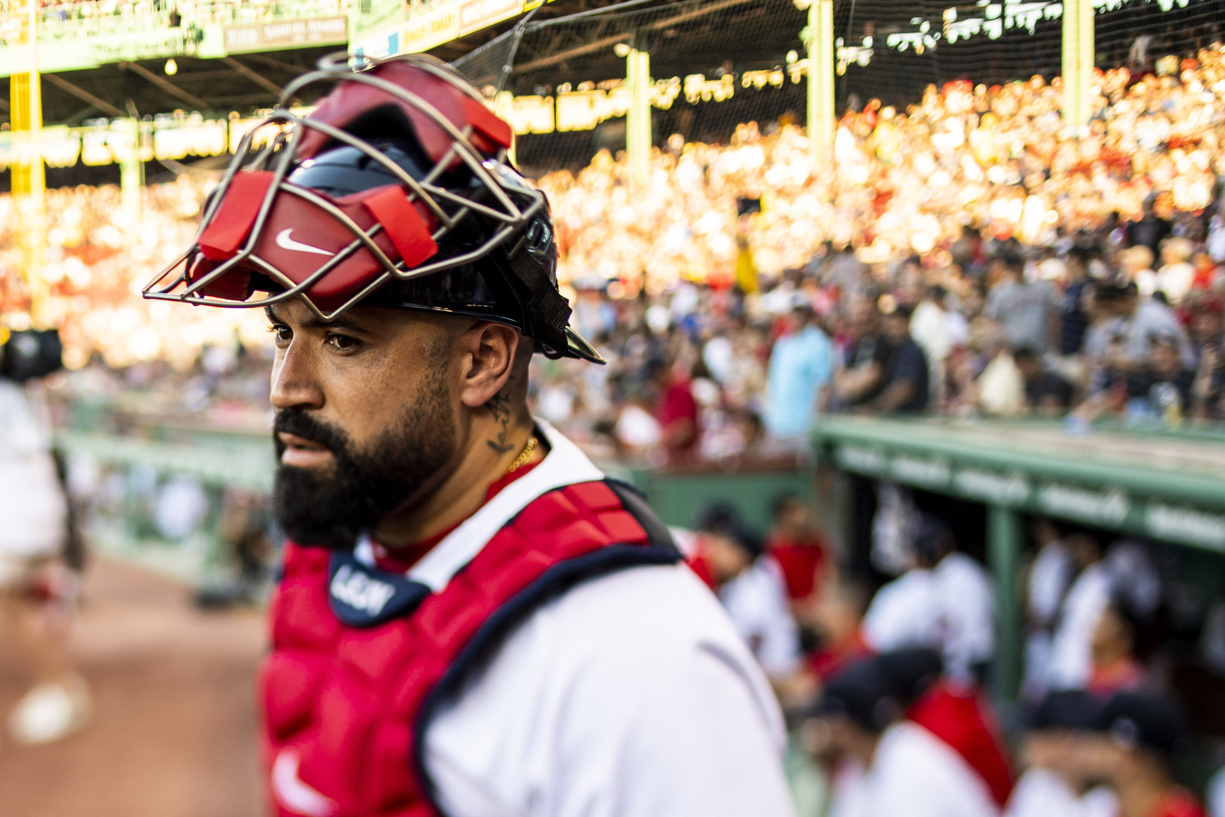 July 8, 2018, Boston, MA: Boston Red Sox catcher Sandy Leon prepares to take the field as the Boston Red Sox face the Texas Rangers Fenway Park in Boston, Massachusetts on Monday, July 9, 2018. (Photo by Matthew Thomas/Boston Red Sox)