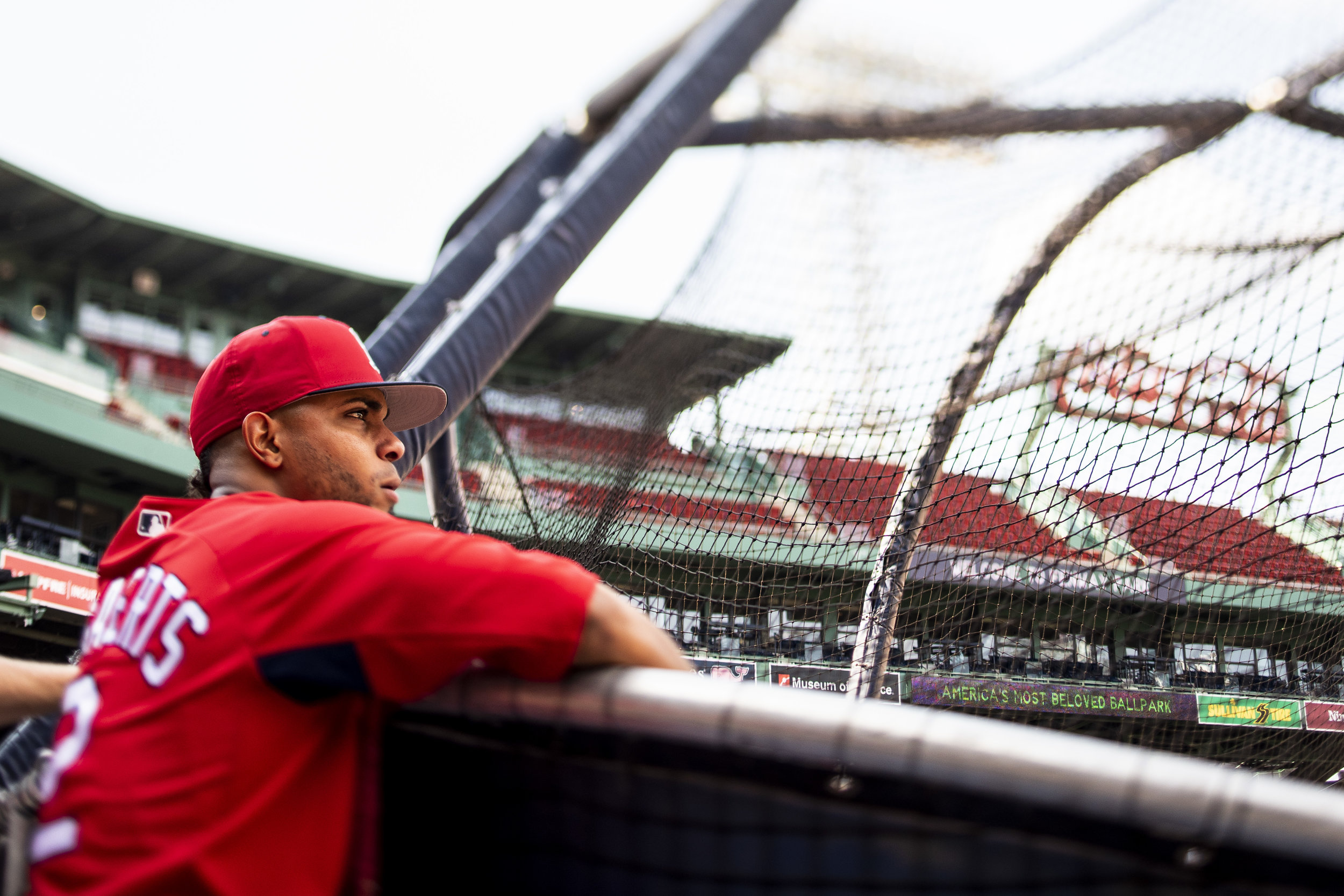 July 26, 2018, Boston, MA: Boston Red Sox shortstop Xander Bogaerts watches batting practice from the cage before the Boston Red Sox face the Minnesota Twins at Fenway Park in Boston, Massachusetts on Friday, July 27, 2018. (Photo by Matthew Thomas/Boston Red Sox)