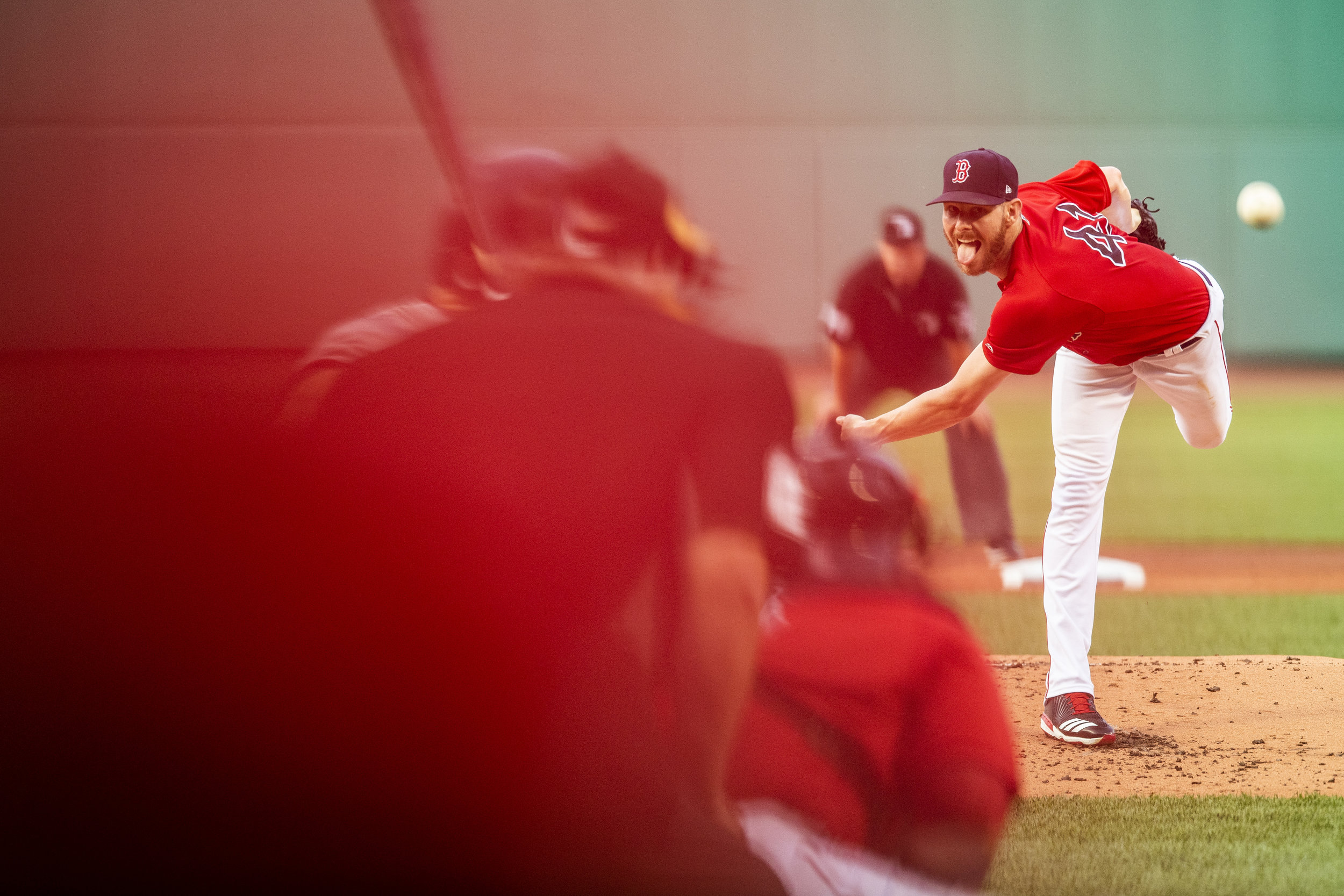 July 26, 2018, Boston, MA: Boston Red Sox pitcher Chris Sale delivers a pitch as the Boston Red Sox face the Minnesota Twins at Fenway Park in Boston, Massachusetts on Friday, July 27, 2018. (Photo by Matthew Thomas/Boston Red Sox)