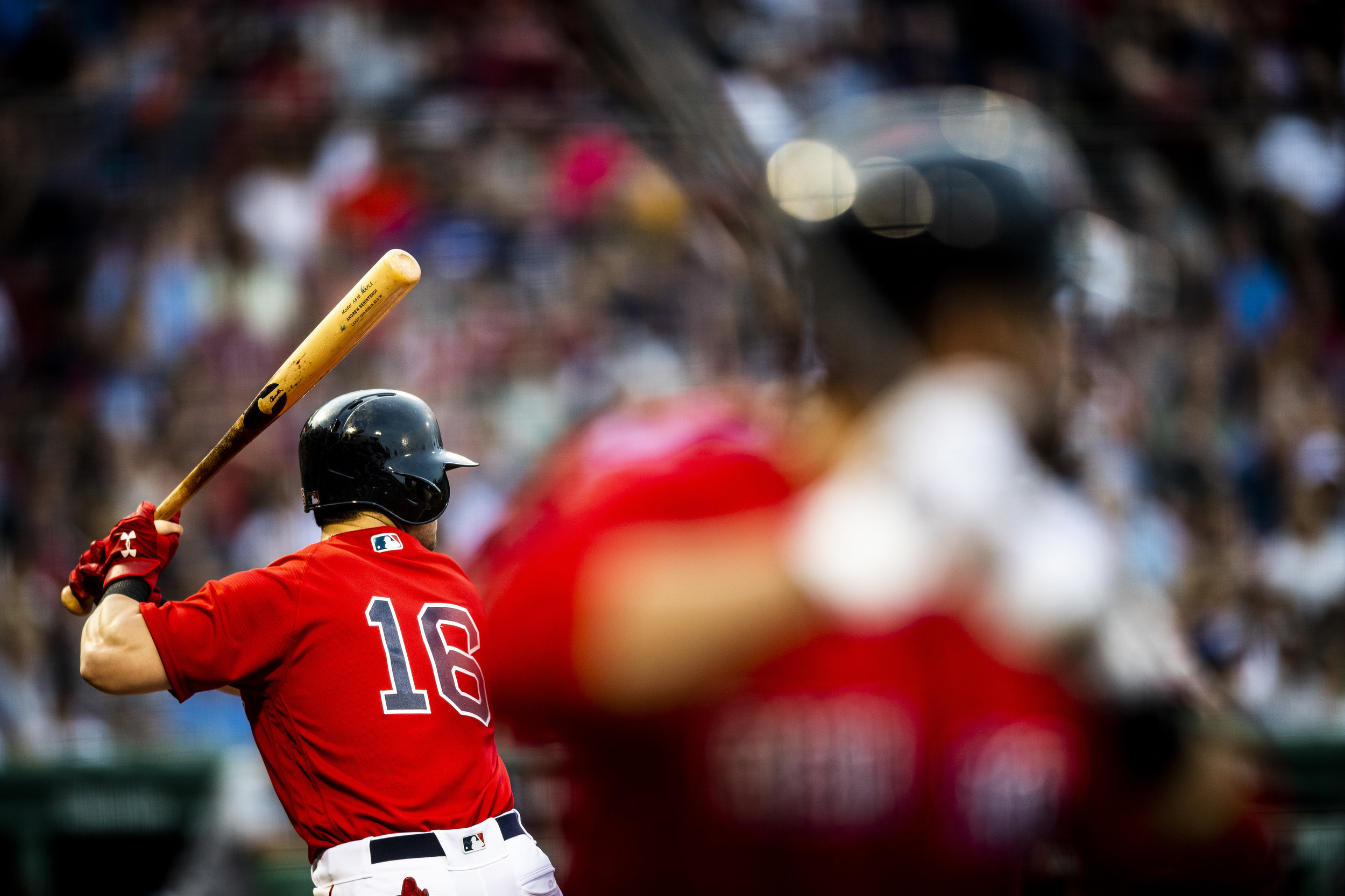 July 26, 2018, Boston, MA: Boston Red Sox outfielder Andrew Benintendi takes an at bat as the Boston Red Sox face the Minnesota Twins at Fenway Park in Boston, Massachusetts on Friday, July 27, 2018. (Photo by Matthew Thomas/Boston Red Sox)