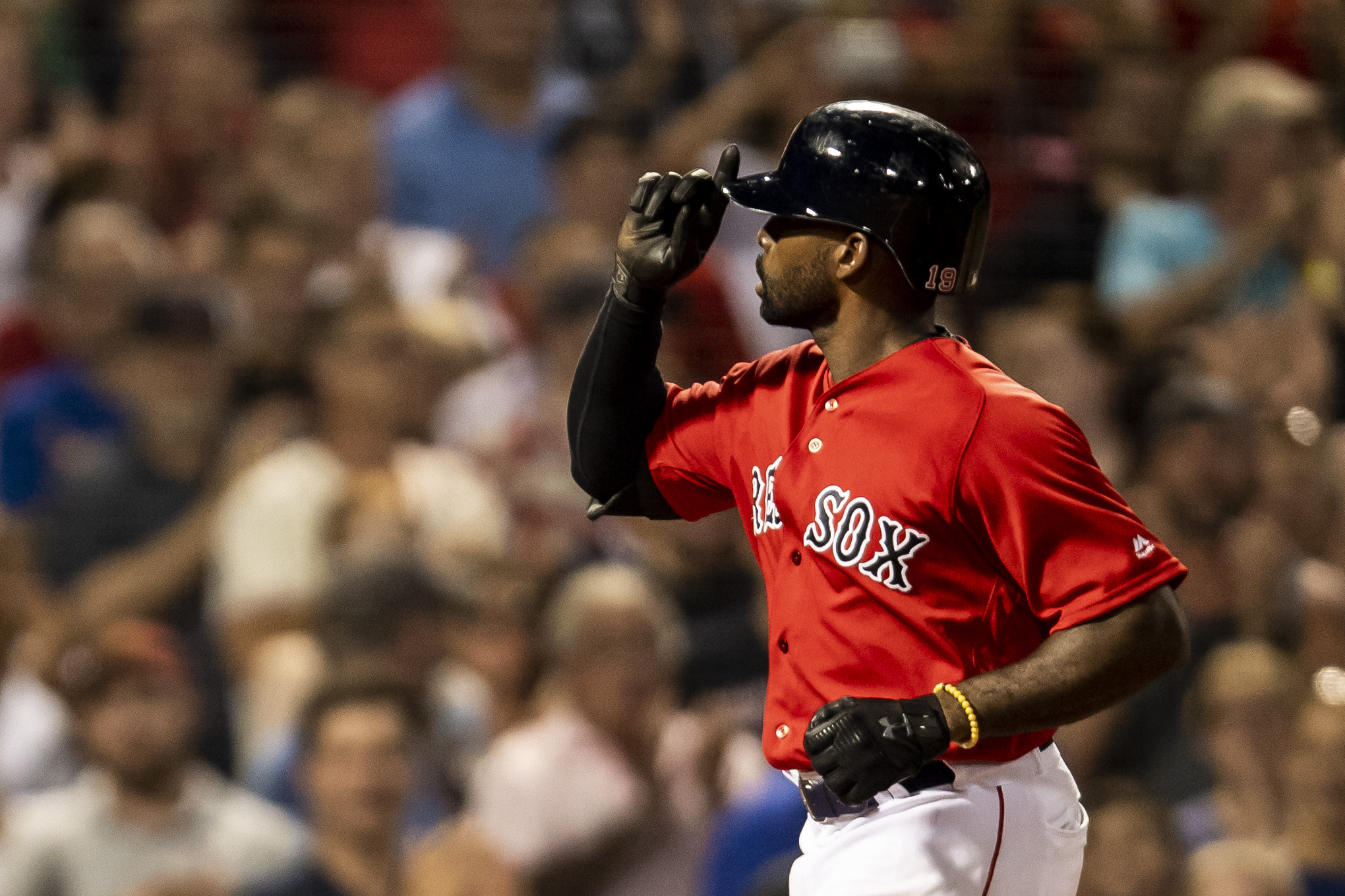 July 26, 2018, Boston, MA: Boston Red Sox outfielder Jackie Bradley Jr. celebrates after hitting a home run as the Boston Red Sox face the Minnesota Twins at Fenway Park in Boston, Massachusetts on Friday, July 27, 2018. (Photo by Matthew Thomas/Boston Red Sox)