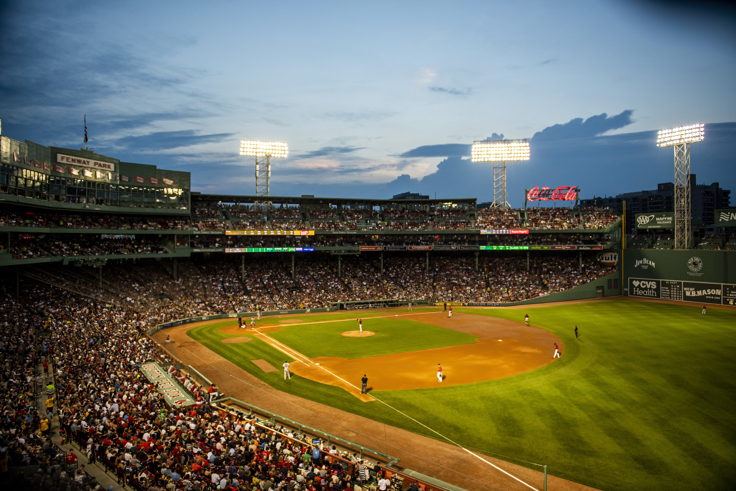 July 26, 2018, Boston, MA: The sun sets over fenway park as the Boston Red Sox face the Minnesota Twins at Fenway Park in Boston, Massachusetts on Friday, July 27, 2018. (Photo by Matthew Thomas/Boston Red Sox)