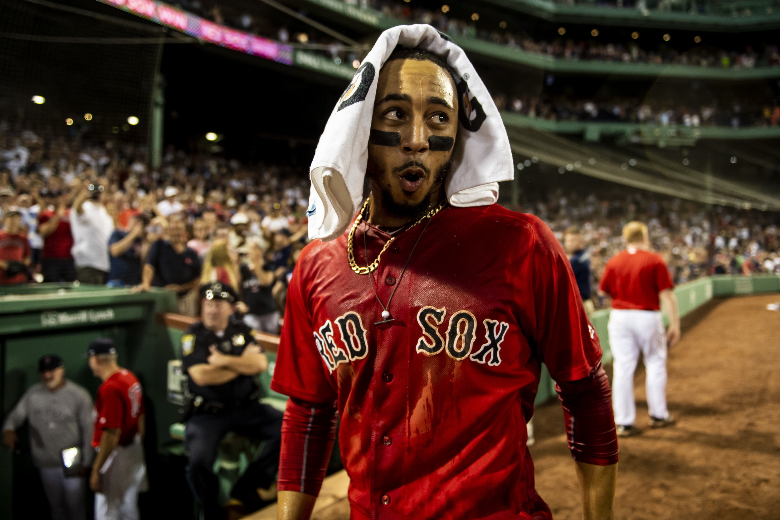 July 26, 2018, Boston, MA: Boston Red Sox outfielder Mookie Betts reacts to having Gatorade dumped on him after hitting the walk-off home run as the Boston Red Sox defeated the Minnesota Twins at Fenway Park in Boston, Massachusetts on Friday, July 27, 2018. (Photo by Matthew Thomas/Boston Red Sox)