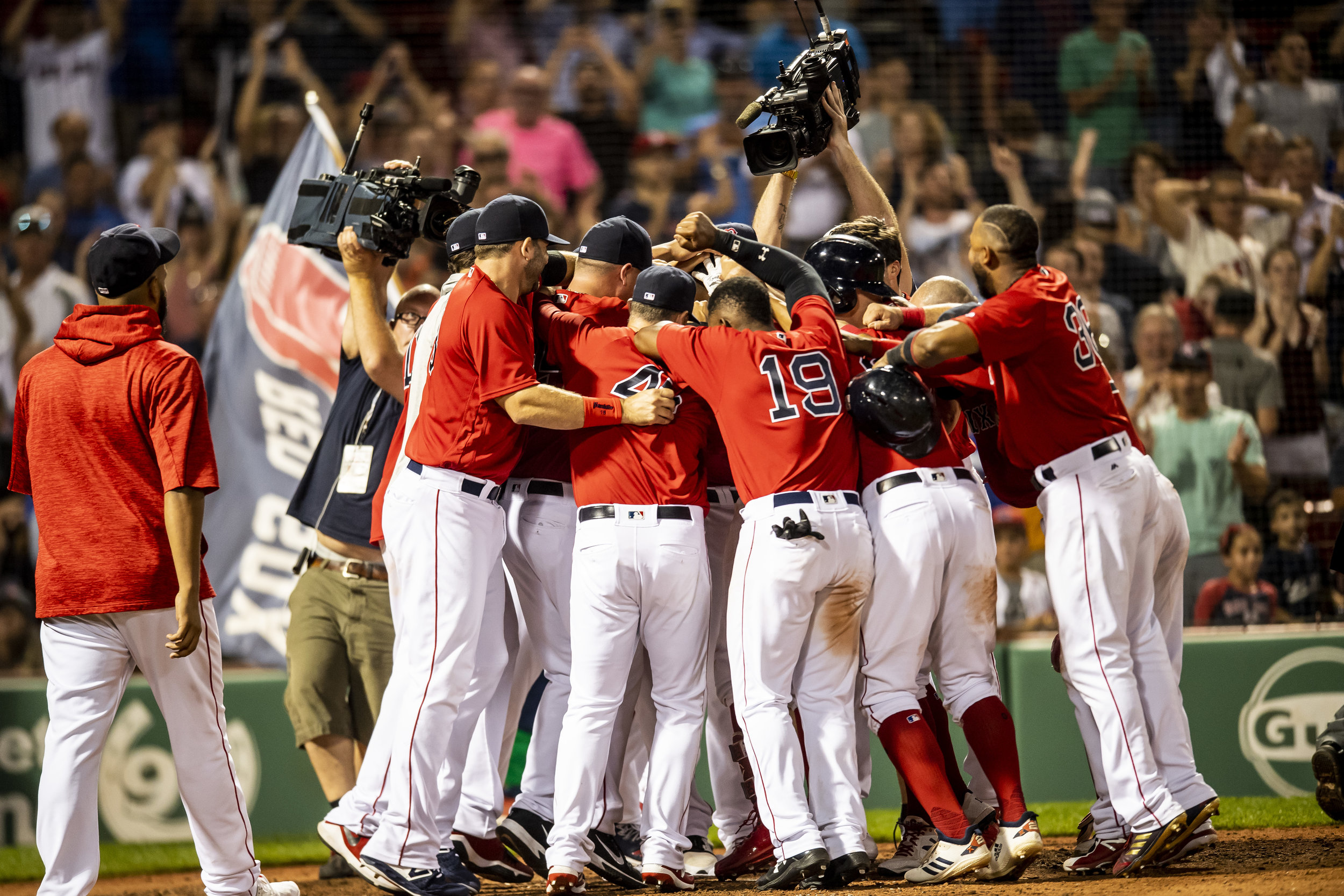 July 26, 2018, Boston, MA: The Red Sox react to Boston Red Sox outfielder Mookie Betts hits the walk-off home run as the Boston Red Sox defeated the Minnesota Twins at Fenway Park in Boston, Massachusetts on Friday, July 27, 2018. (Photo by Matthew Thomas/Boston Red Sox)