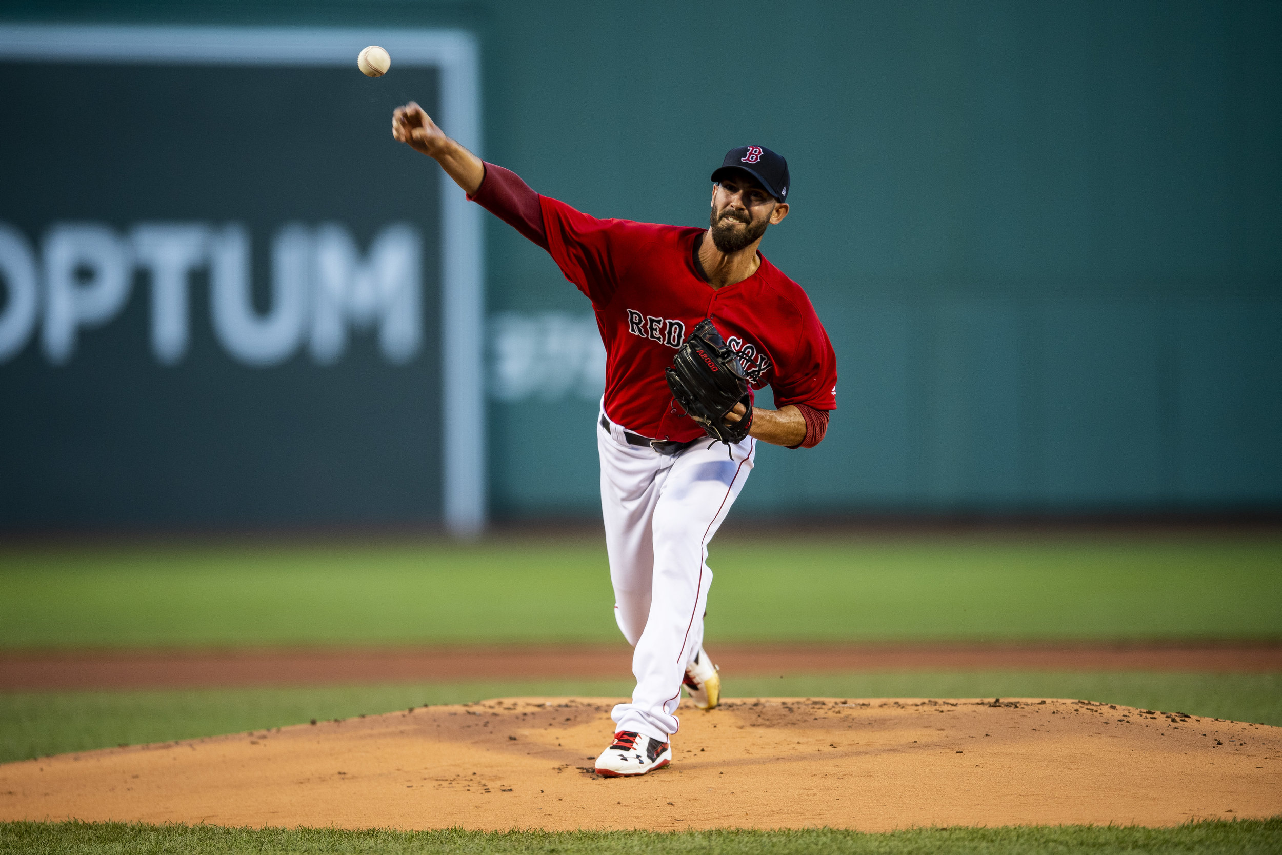 August 3, 2018, Boston, MA: Boston Red Sox pitcher Rick Porcello deliver a pitch as the Boston Red Sox face the New York Yankees at Fenway Park in Boston, Massachusetts on Friday, August 3, 2018. (Photo by Matthew Thomas/Boston Red Sox)
