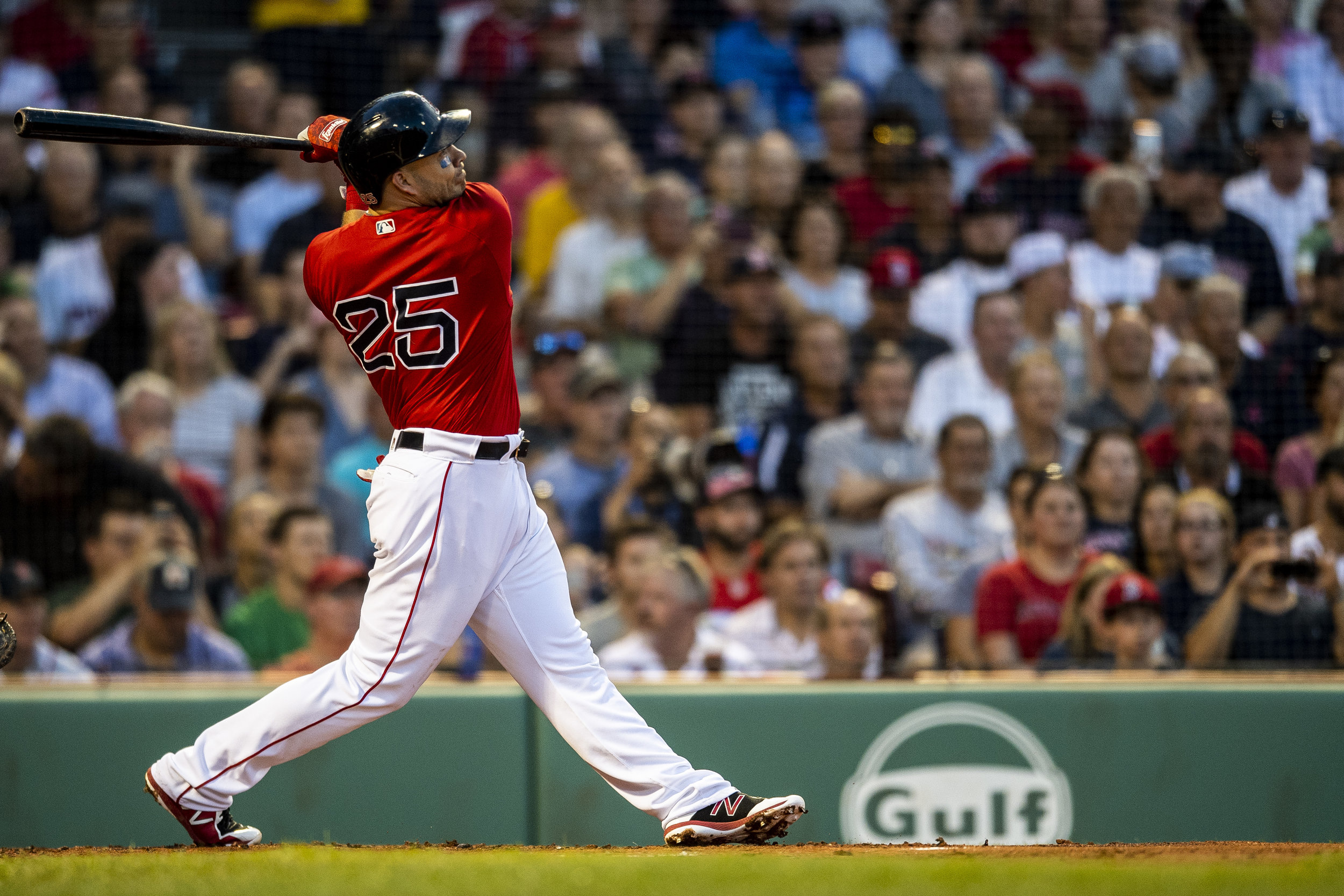 August 3, 2018, Boston, MA: Boston Red Sox infielder Steve Pearce swings and hits a home run as the Boston Red Sox face the New York Yankees at Fenway Park in Boston, Massachusetts on Friday, August 3, 2018. (Photo by Matthew Thomas/Boston Red Sox)
