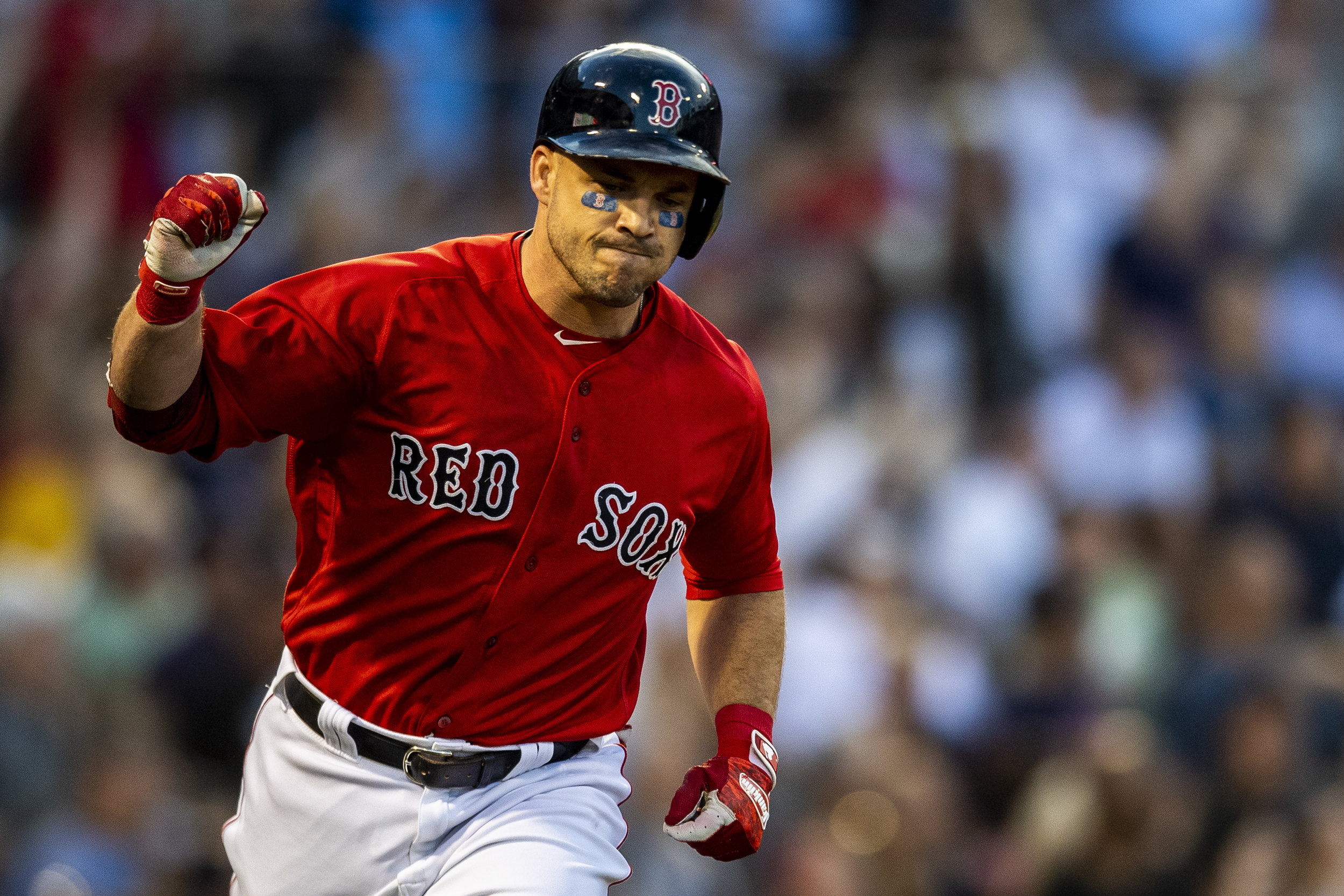 August 3, 2018, Boston, MA: Boston Red Sox infielder Steve Pearce pumps his fist after hitting a home run as the Boston Red Sox face the New York Yankees at Fenway Park in Boston, Massachusetts on Friday, August 3, 2018. (Photo by Matthew Thomas/Boston Red Sox)