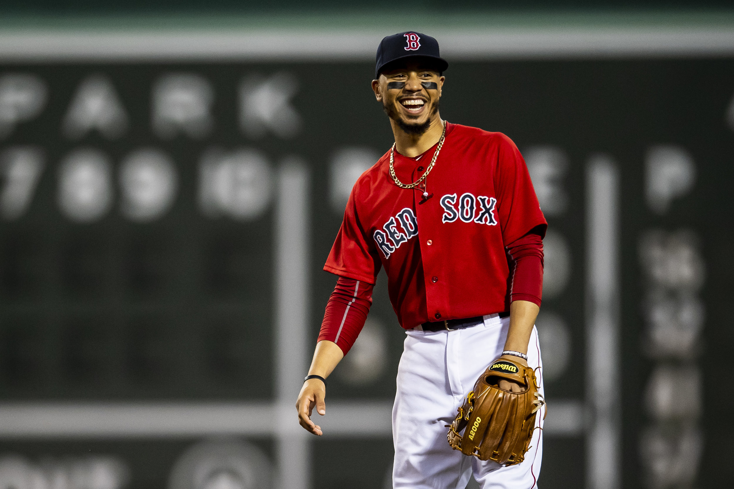 August 3, 2018, Boston, MA: Boston Red Sox second baseman Mookie Betts smiles as the Boston Red Sox face the New York Yankees at Fenway Park in Boston, Massachusetts on Friday, August 3, 2018. (Photo by Matthew Thomas/Boston Red Sox)