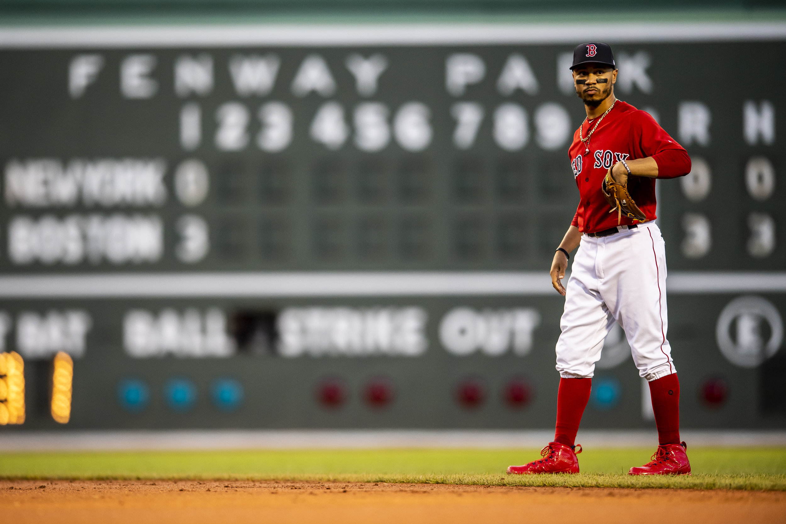 August 3, 2018, Boston, MA: Boston Red Sox second baseman Mookie Betts gets ready to field the ball as the Boston Red Sox face the New York Yankees at Fenway Park in Boston, Massachusetts on Friday, August 3, 2018. (Photo by Matthew Thomas/Boston Red Sox)
