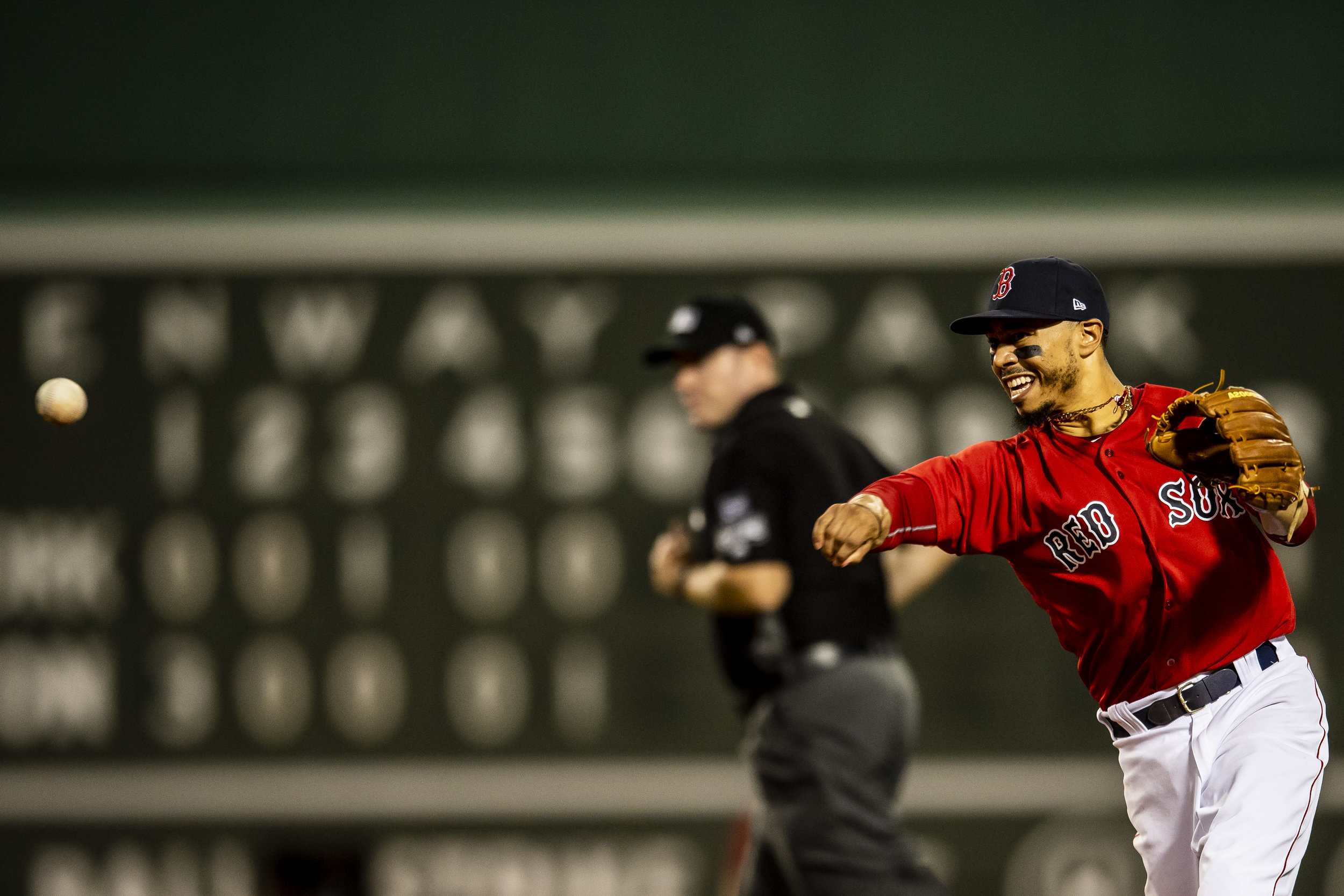 August 3, 2018, Boston, MA: Boston Red Sox second baseman Mookie Betts fields the ball as the Boston Red Sox face the New York Yankees at Fenway Park in Boston, Massachusetts on Friday, August 3, 2018. (Photo by Matthew Thomas/Boston Red Sox)