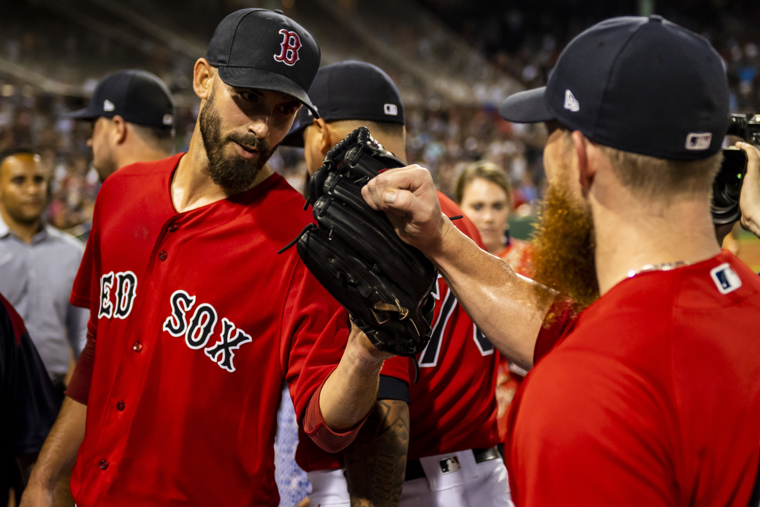 August 3, 2018, Boston, MA: Boston Red Sox pitcher Rick Porcello celebrates pitching a one hit complete game with Boston Red Sox pitcher Craig Kimbrel as the Boston Red Sox defeat the New York Yankees at Fenway Park in Boston, Massachusetts on Friday, August 3, 2018. (Photo by Matthew Thomas/Boston Red Sox)