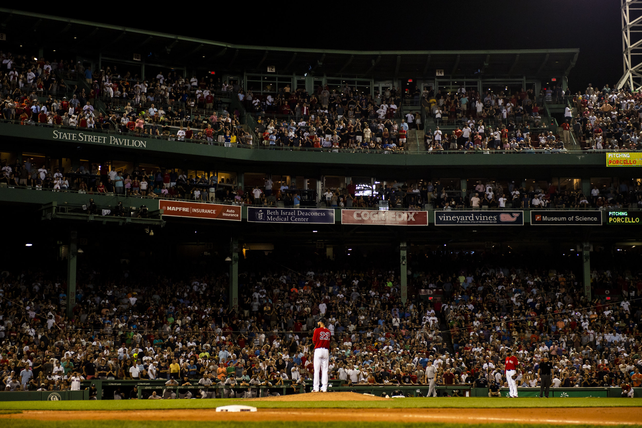 August 3, 2018, Boston, MA: Boston Red Sox pitcher Rick Porcello stands on the mound in the top of the ninth inning pitching a complete game as the Boston Red Sox face the New York Yankees at Fenway Park in Boston, Massachusetts on Friday, August 3, 2018. (Photo by Matthew Thomas/Boston Red Sox)
