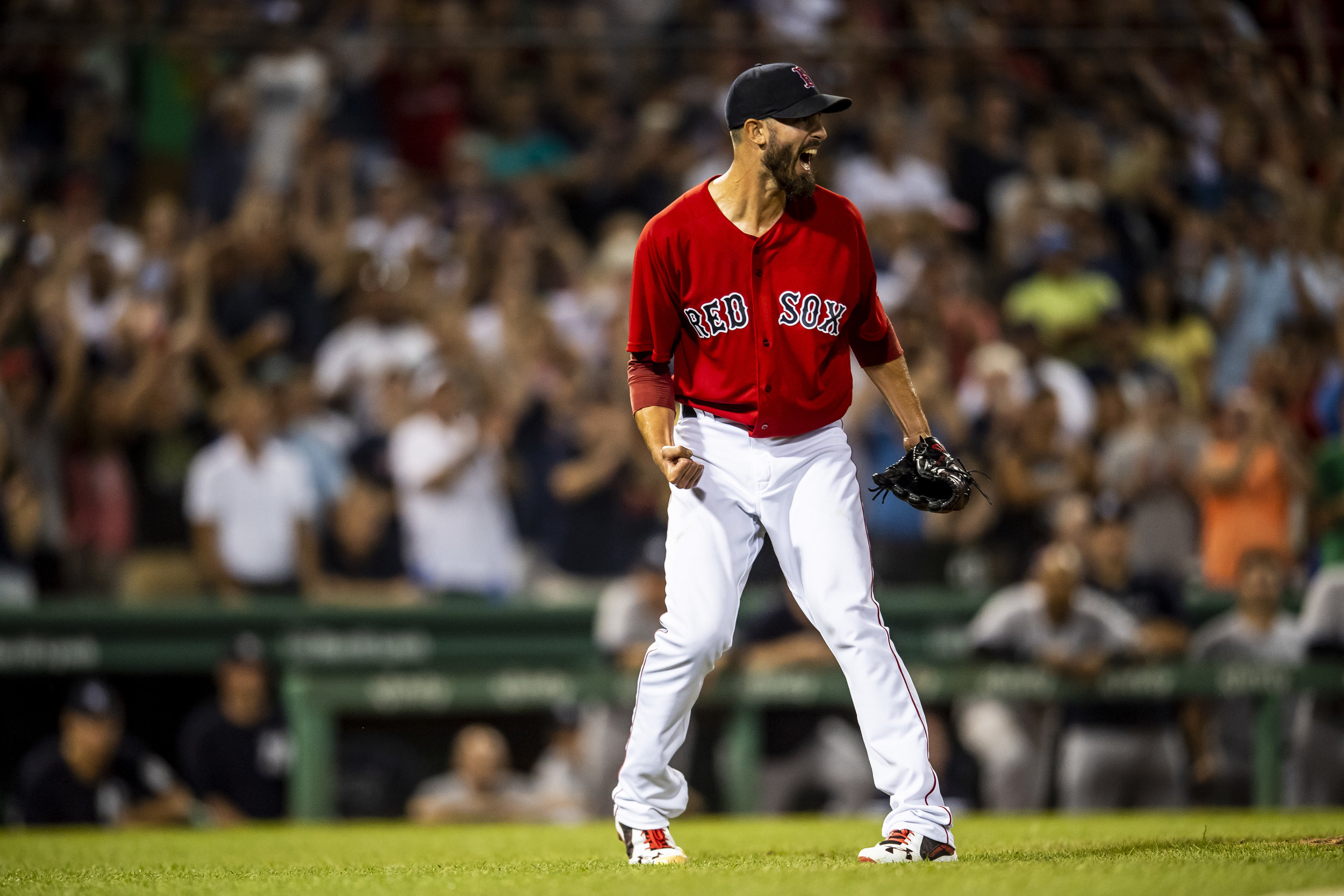 August 3, 2018, Boston, MA: Boston Red Sox pitcher Rick Porcello celebrates pitching a one hit complete game after the Boston Red Sox defeated the New York Yankees at Fenway Park in Boston, Massachusetts on Friday, August 3, 2018. (Photo by Matthew Thomas/Boston Red Sox)