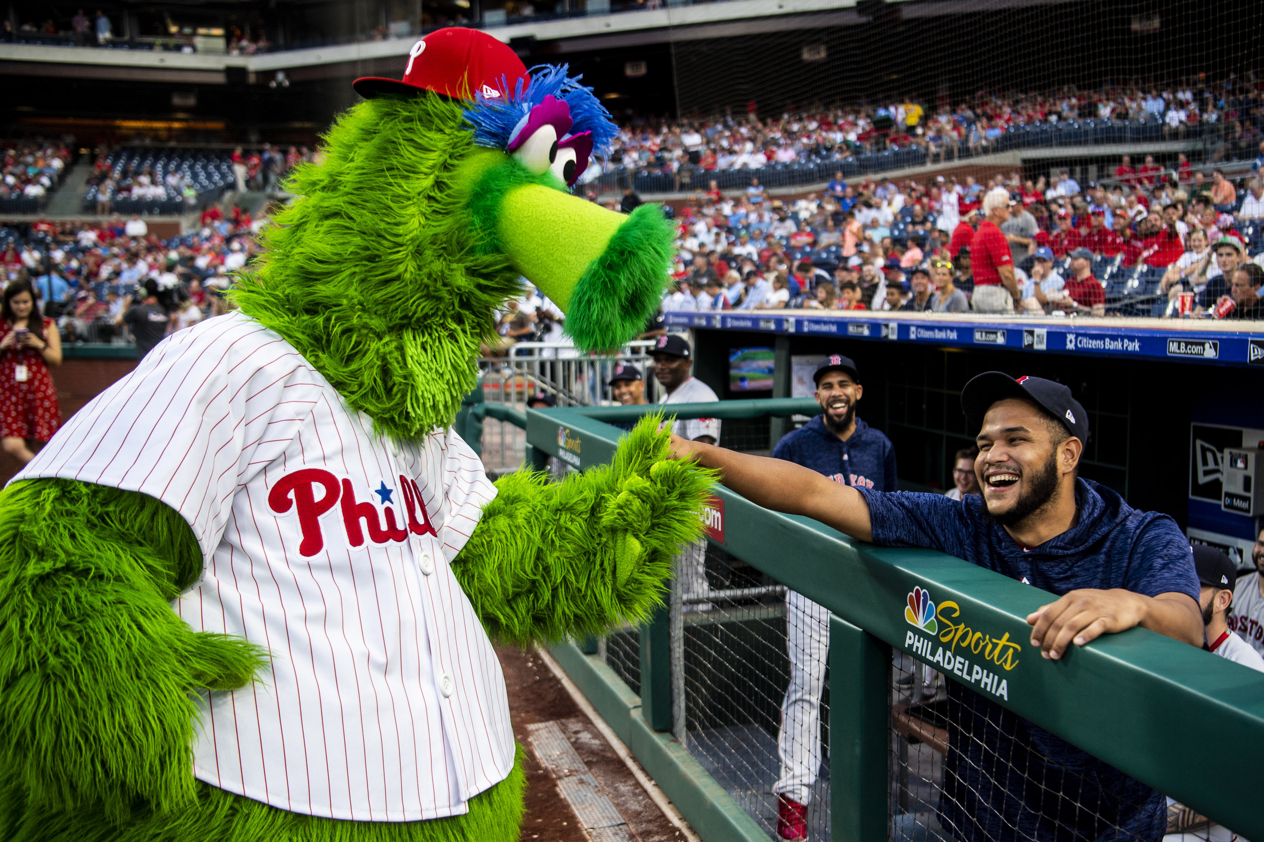 August 15, 2018, Philadelphia, PA: Boston Red Sox pitcher Eduardo Rodriguez jokes with the Phillie Phanatic before the Boston Red Sox face the Philadelphia Phillies at Citizen Bank Park in Philadelphia, Pennsylvania on Wednesday, August 15, 2018. (Photo by Matthew Thomas/Boston Red Sox)