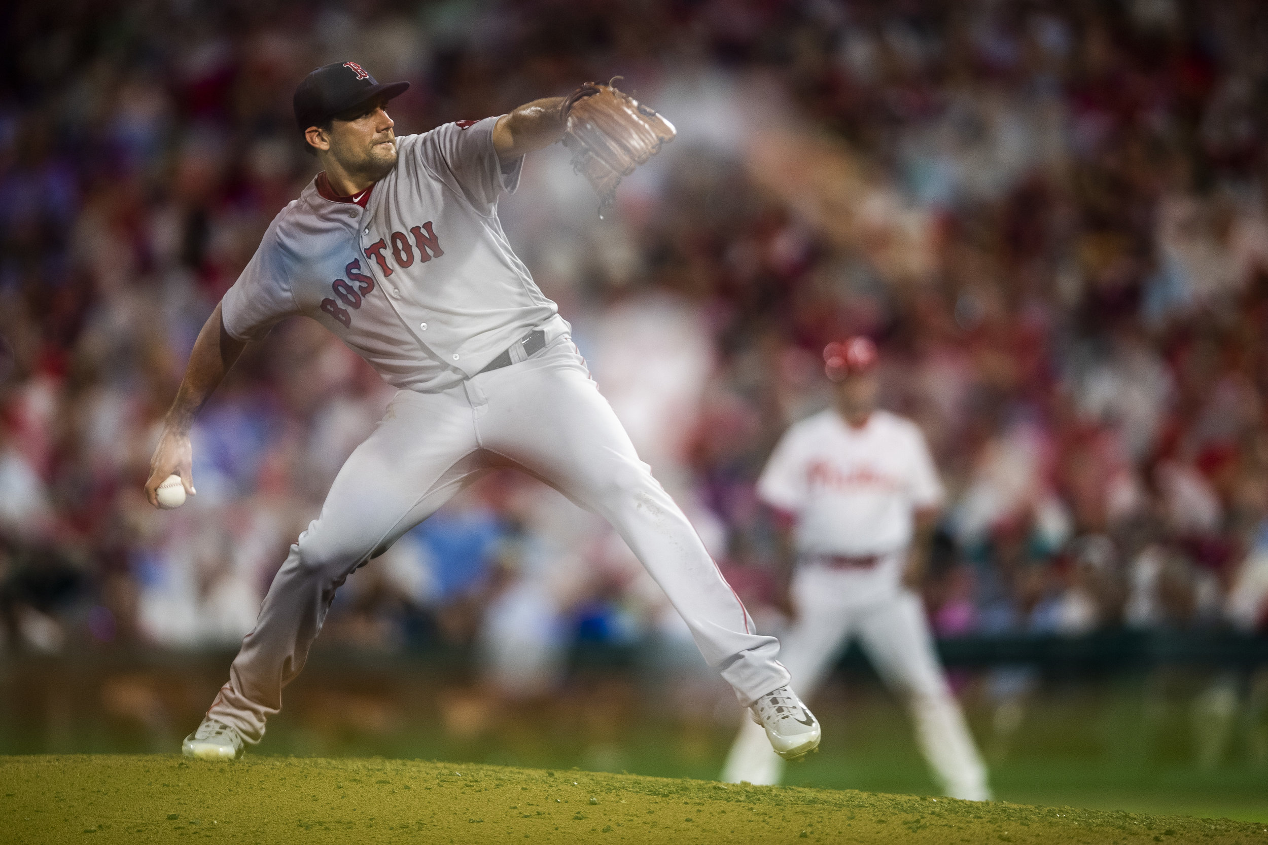 August 15, 2018, Philadelphia, PA: Boston Red Sox pitcher Nathan Eovaldi delivers a pitch as the Boston Red Sox face the Philadelphia Phillies at Citizen Bank Park in Philadelphia, Pennsylvania on Wednesday, August 15, 2018. (Photo by Matthew Thomas/Boston Red Sox)