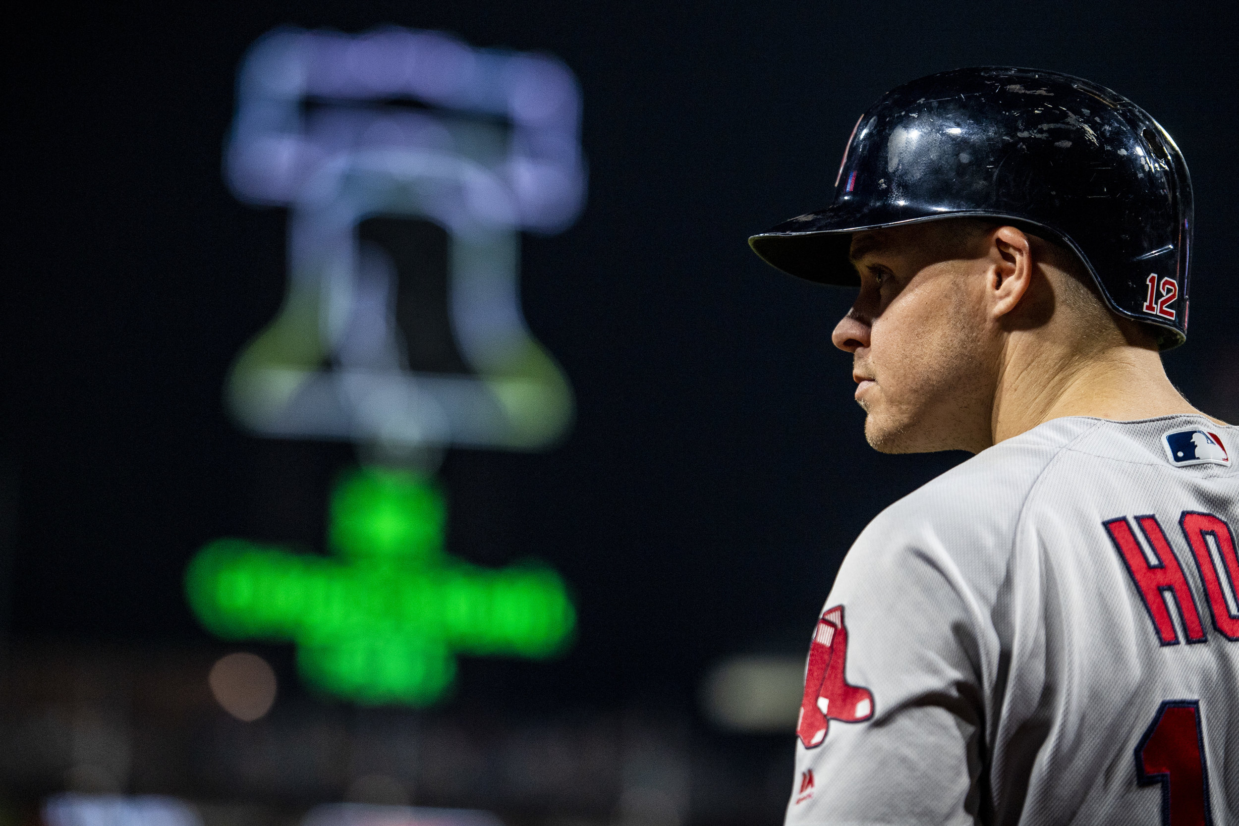 August 15, 2018, Philadelphia, PA: Boston Red Sox outfielder Brock Holt waits in the on-deck circle as the Boston Red Sox face the Philadelphia Phillies at Citizen Bank Park in Philadelphia, Pennsylvania on Wednesday, August 15, 2018. (Photo by Matthew Thomas/Boston Red Sox)